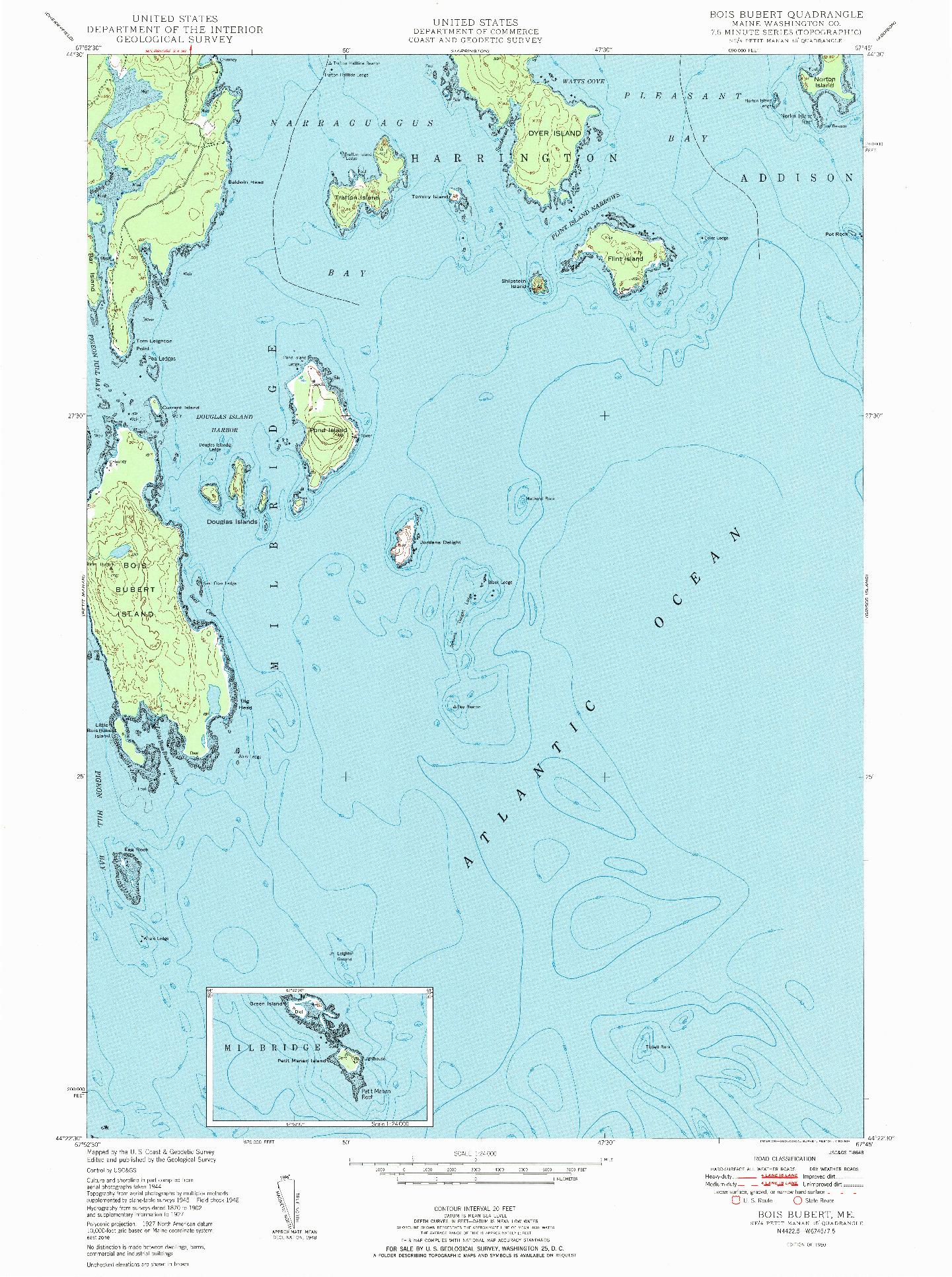 USGS 1:24000-SCALE QUADRANGLE FOR BOIS BUBERT, ME 1950