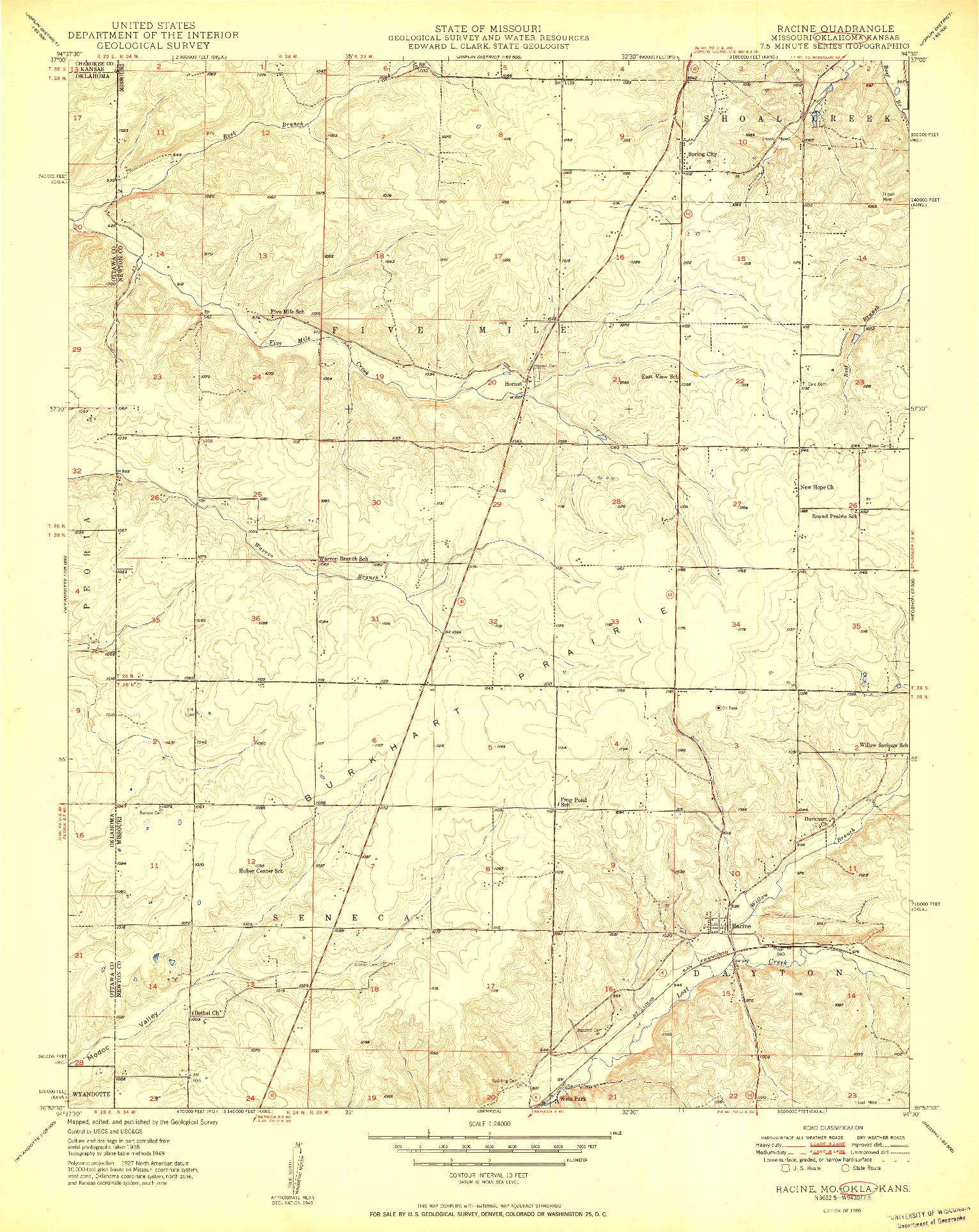 USGS 1:24000-SCALE QUADRANGLE FOR RACINE, MO 1950