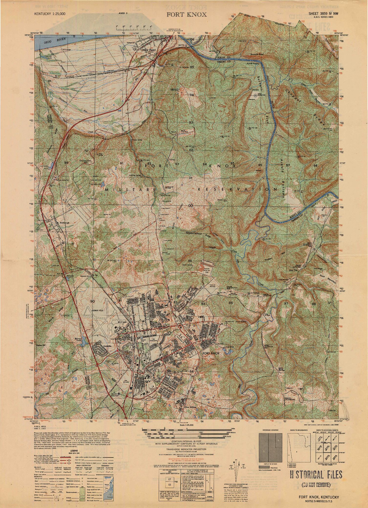 USGS 1:25000-SCALE QUADRANGLE FOR FORT KNOX, KY 1950