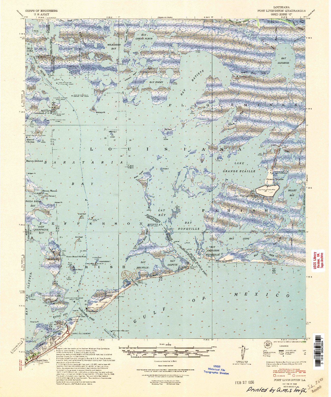 USGS 1:62500-SCALE QUADRANGLE FOR FORT LIVINGSTON, LA 1948