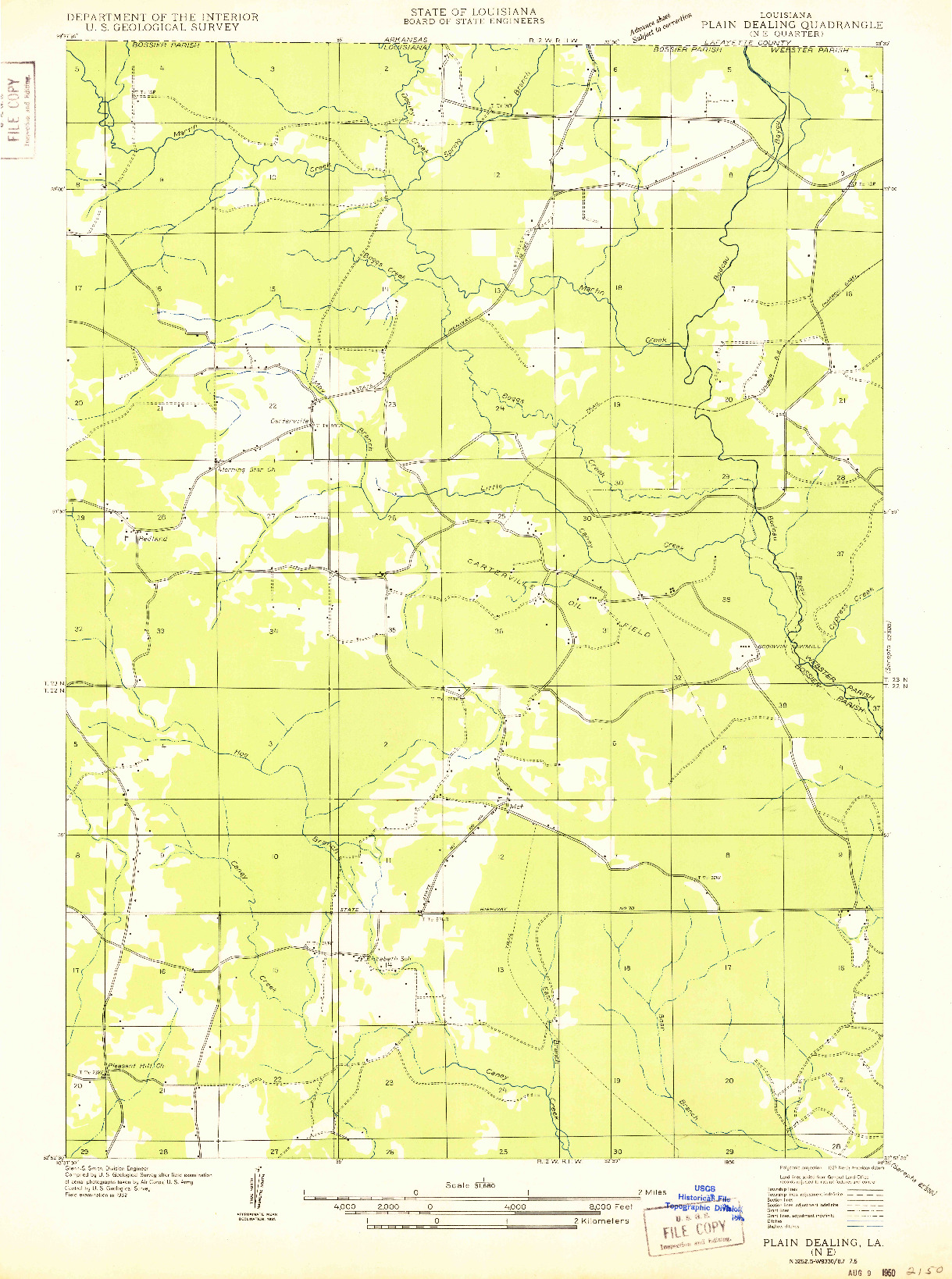 USGS 1:31680-SCALE QUADRANGLE FOR PLAIN DEALING NE, LA 1950