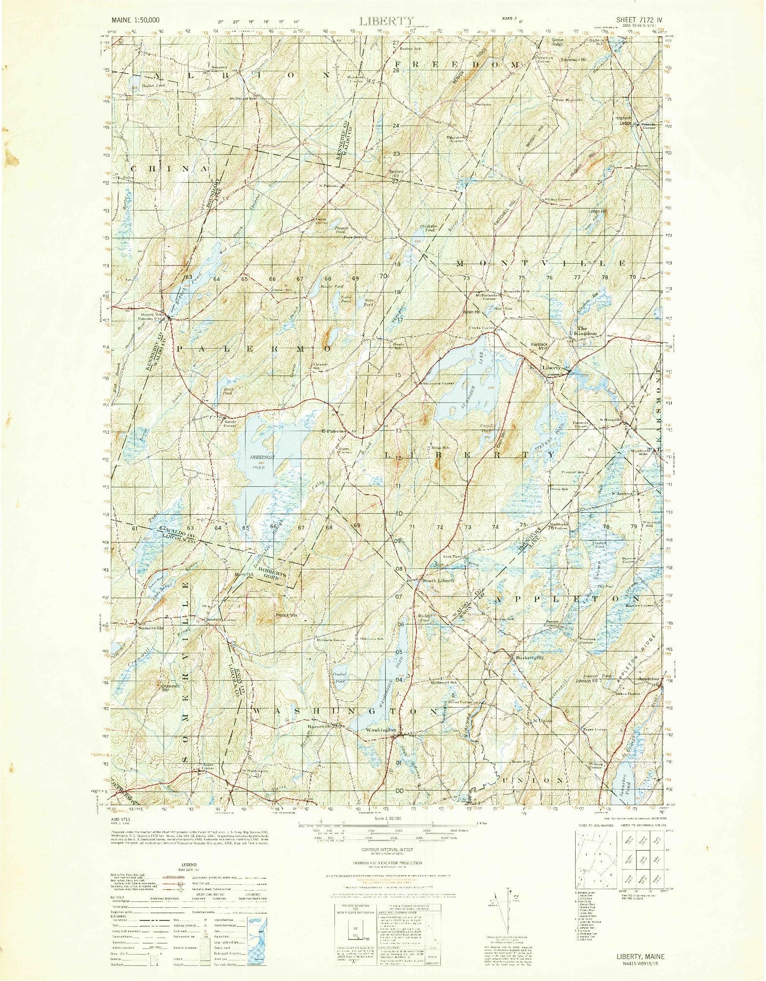 USGS 1:50000-SCALE QUADRANGLE FOR LIBERTY, ME 1950