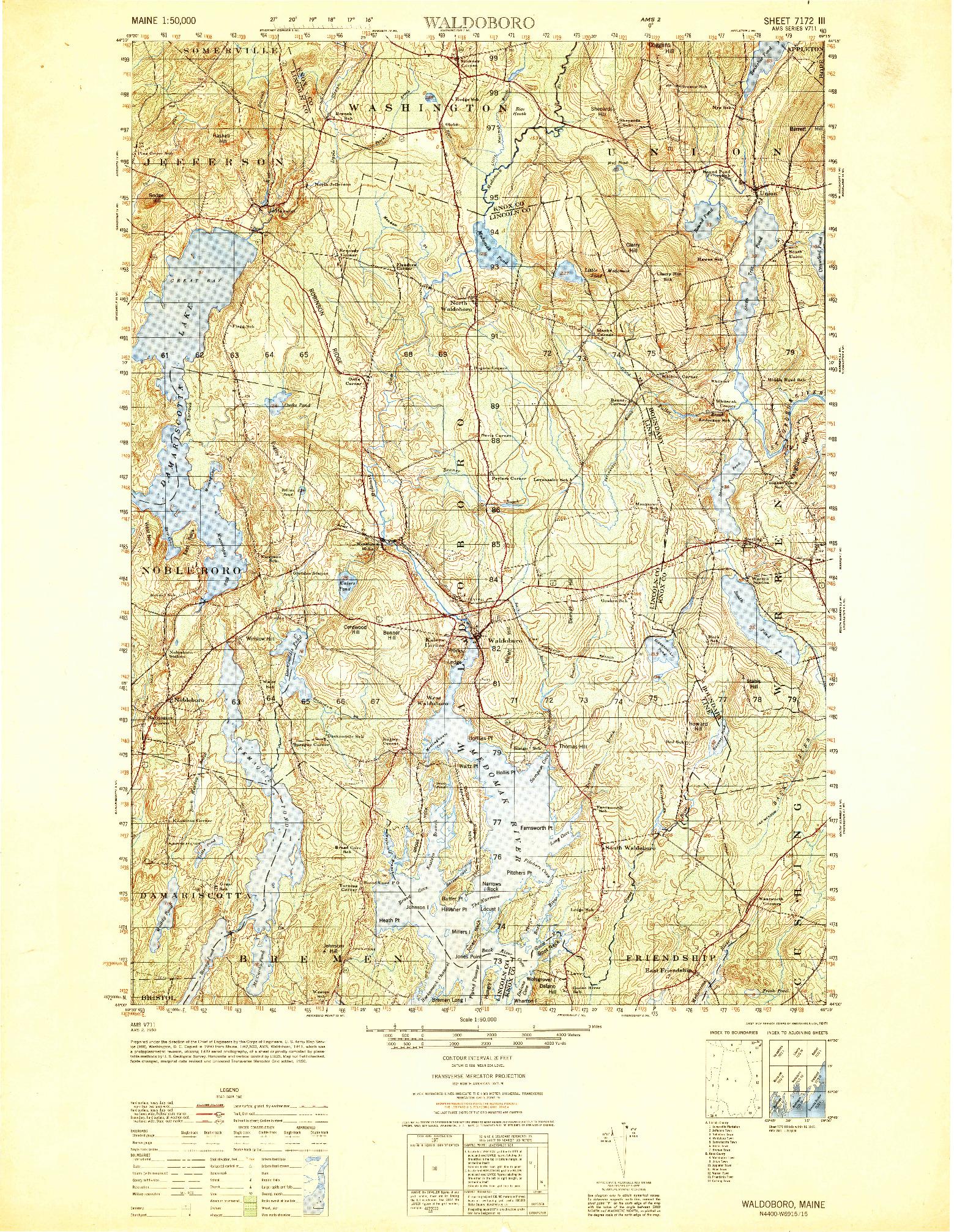 USGS 1:50000-SCALE QUADRANGLE FOR WALDOBORO, ME 1950
