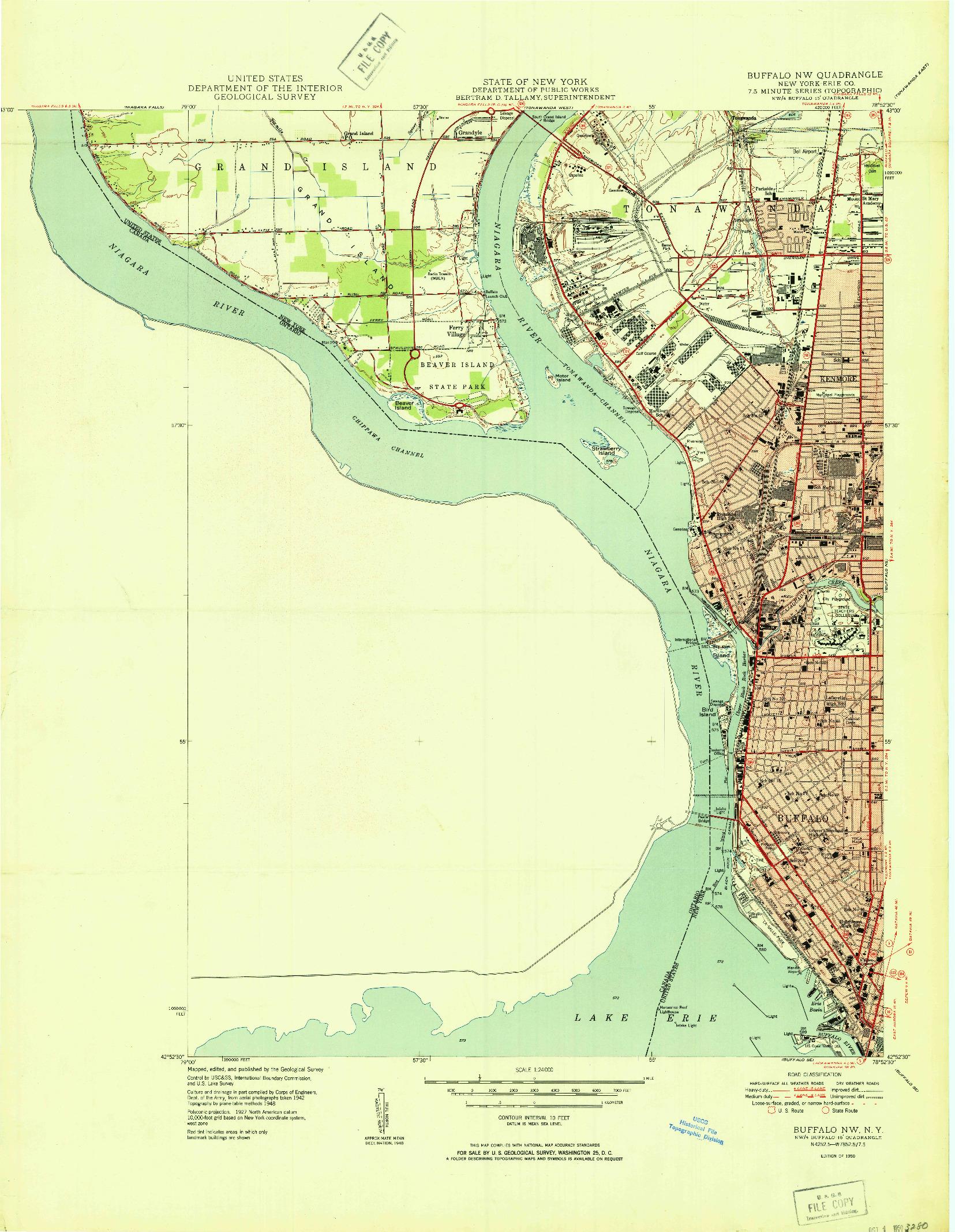 USGS 1:24000-SCALE QUADRANGLE FOR BUFFALO NW, NY 1950