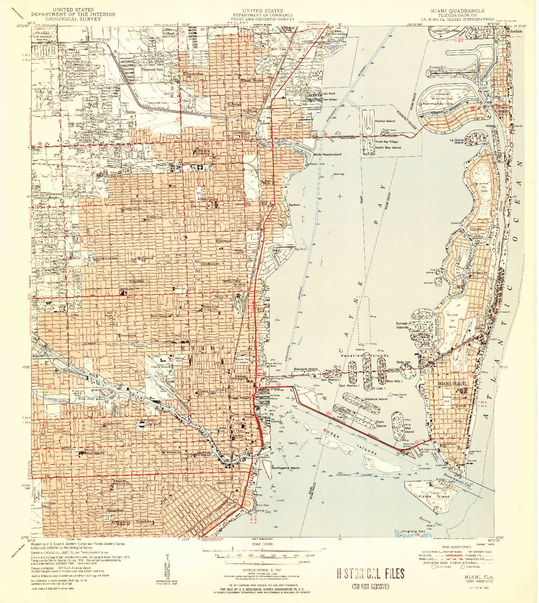 USGS 1:24000-SCALE QUADRANGLE FOR MIAMI, FL 1950