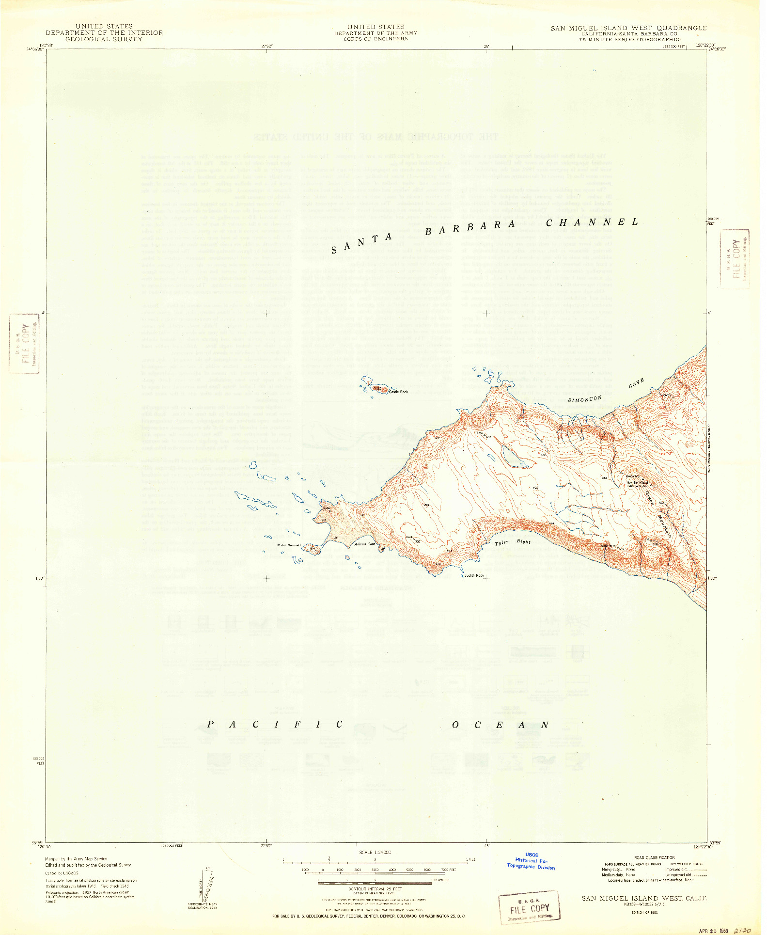 USGS 1:24000-SCALE QUADRANGLE FOR SAN MIGUEL ISLAND WEST, CA 1950