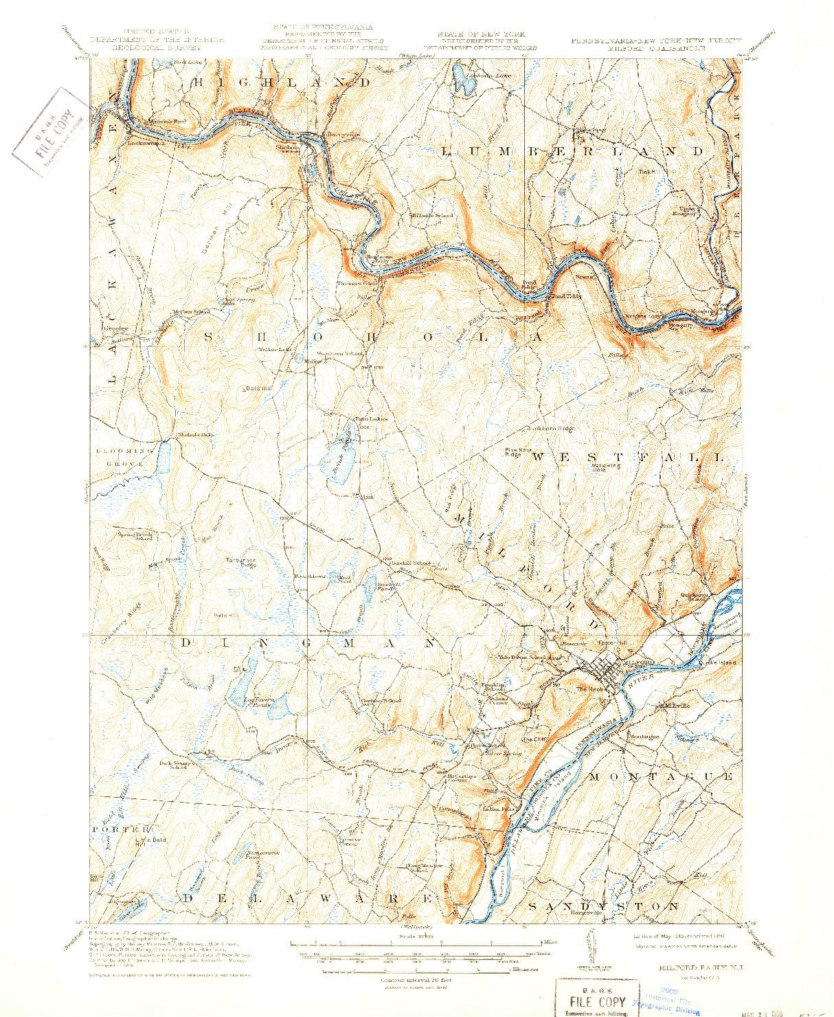 USGS 1:62500-SCALE QUADRANGLE FOR MILFORD, PA 1915