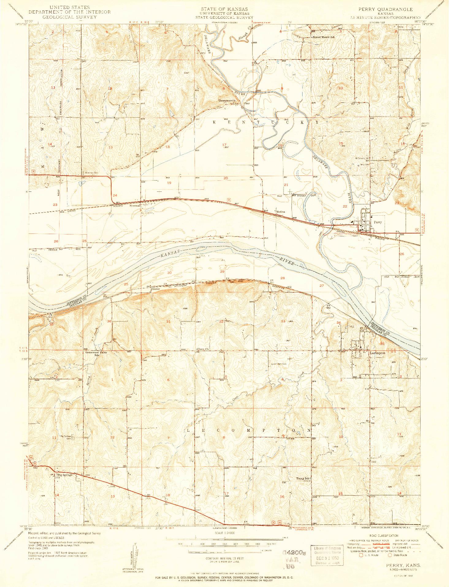 USGS 1:24000-SCALE QUADRANGLE FOR PERRY, KS 1950