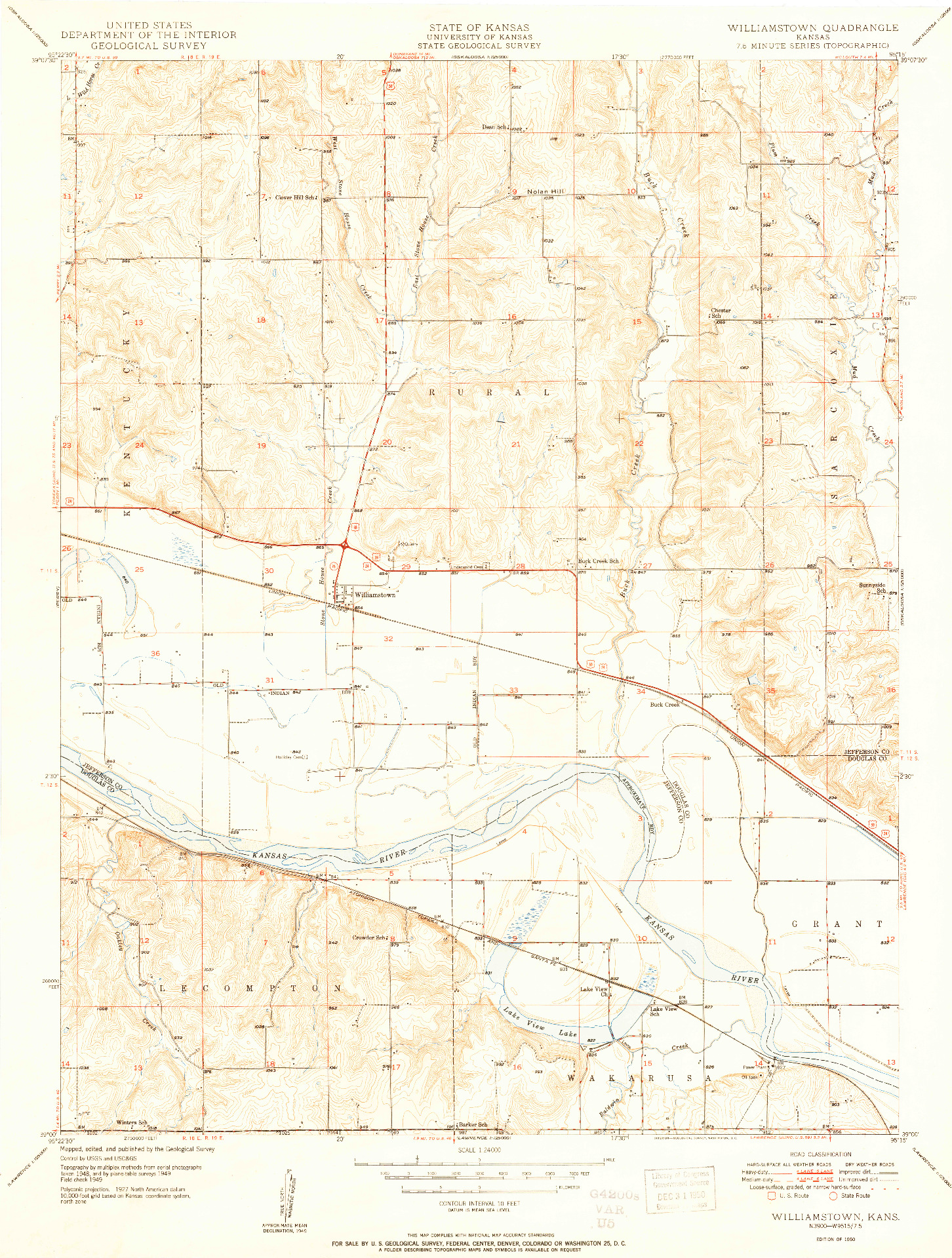 USGS 1:24000-SCALE QUADRANGLE FOR WILLLIAMSTOWN, KS 1950