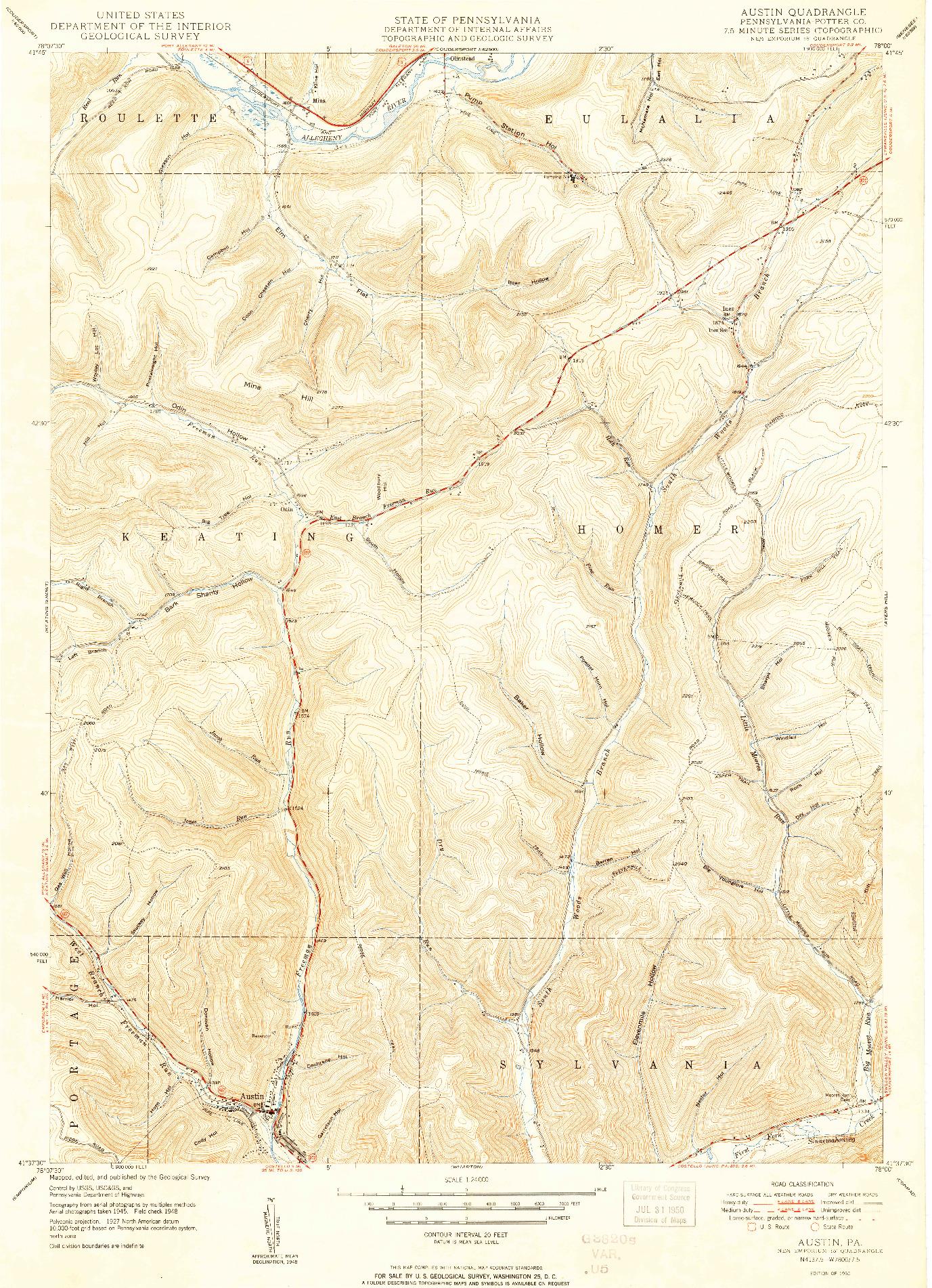 USGS 1:24000-SCALE QUADRANGLE FOR AUSTIN, PA 1950