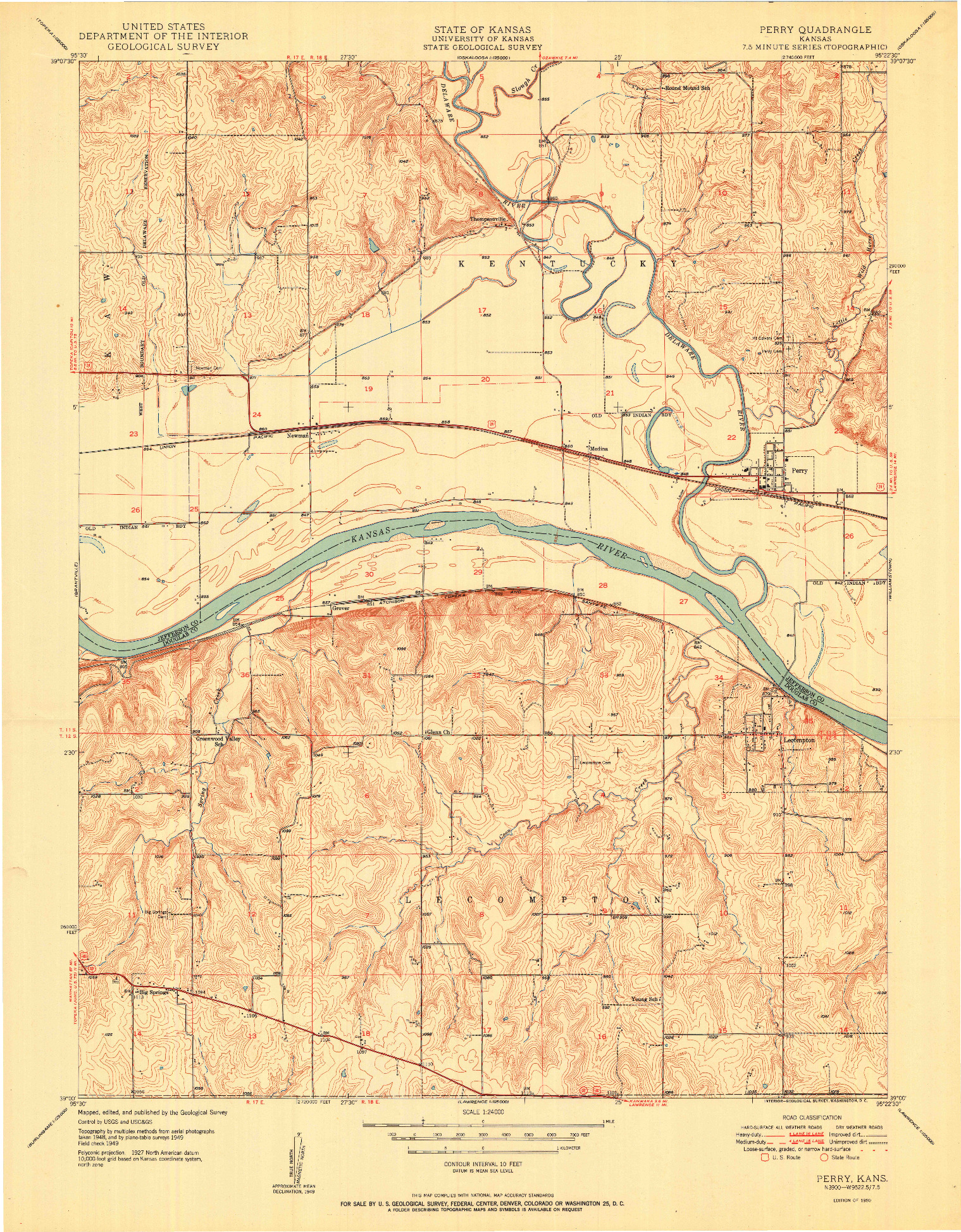 USGS 1:24000-SCALE QUADRANGLE FOR PERRY, KS 1950