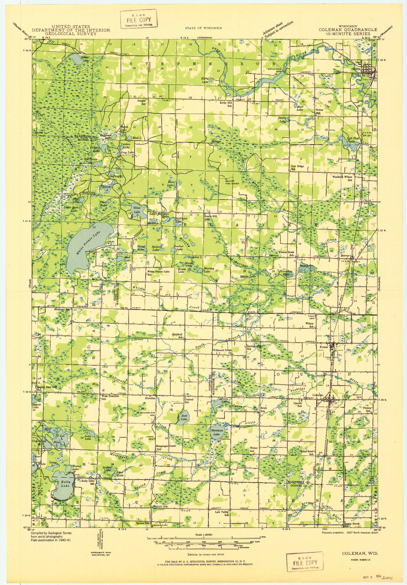 USGS 1:48000-SCALE QUADRANGLE FOR COLEMAN, WI 1950