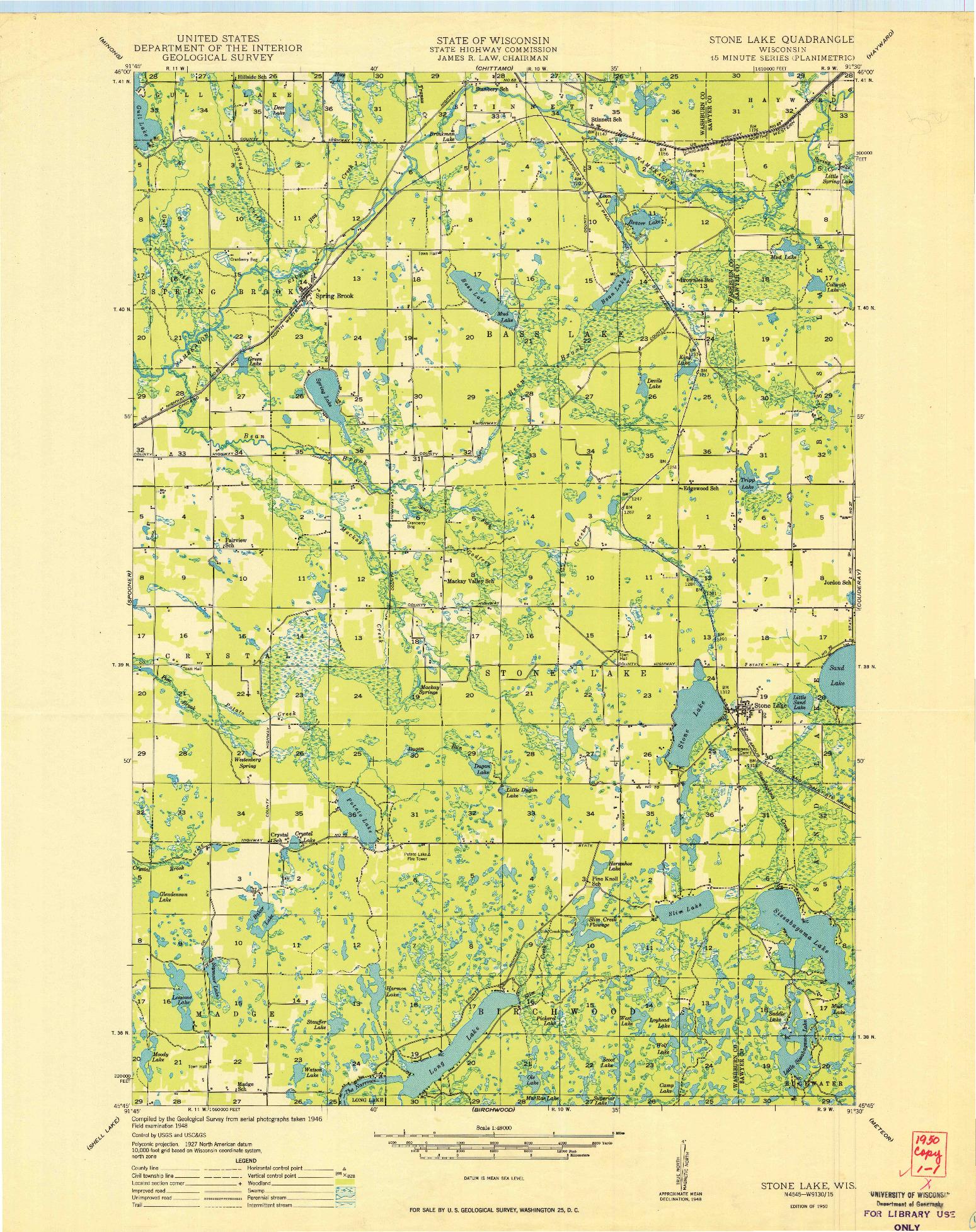 USGS 1:48000-SCALE QUADRANGLE FOR STONE LAKE, WI 1950