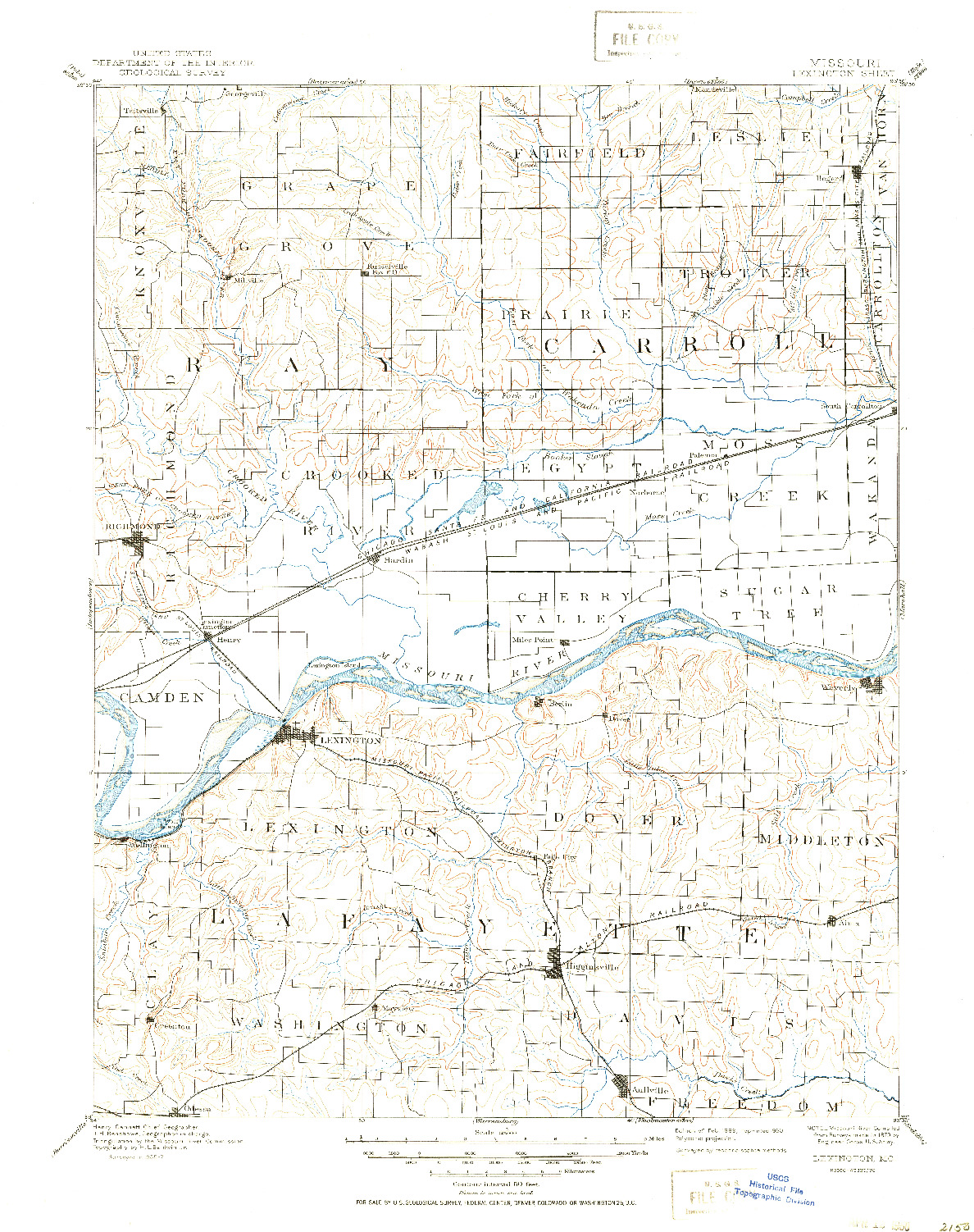 USGS 1:125000-SCALE QUADRANGLE FOR LEXINGTON, MO 1889