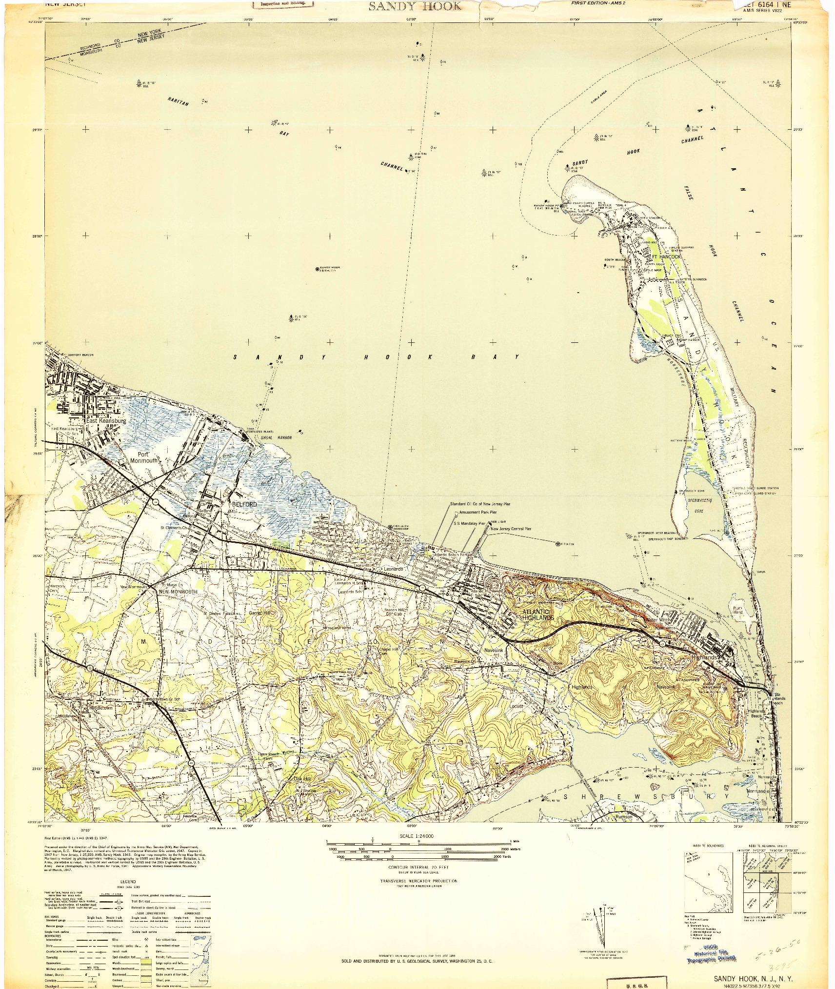 USGS 1:24000-SCALE QUADRANGLE FOR SANDY HOOK, NJ 1947