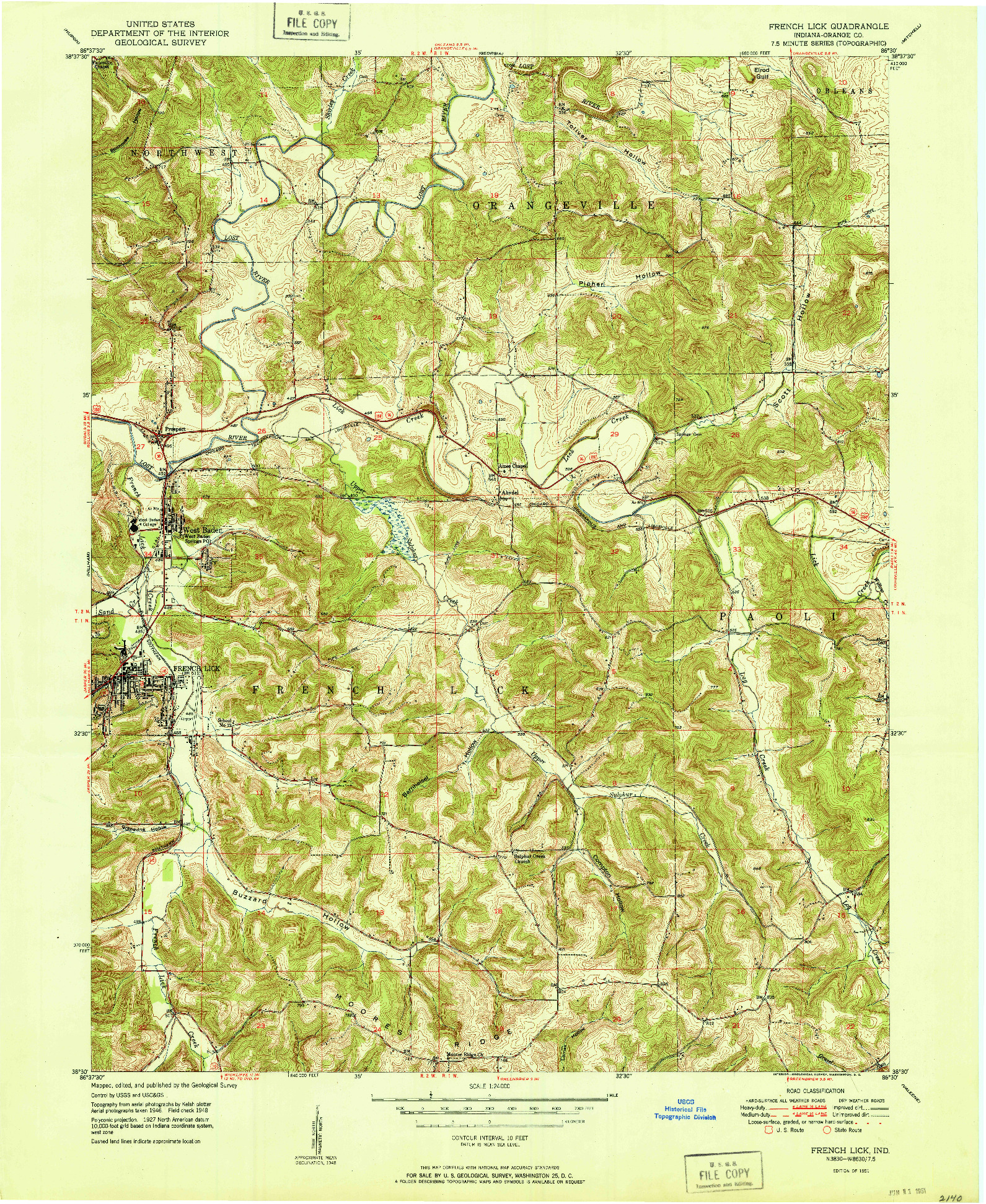 USGS 1:24000-SCALE QUADRANGLE FOR FRENCH LICK, IN 1951
