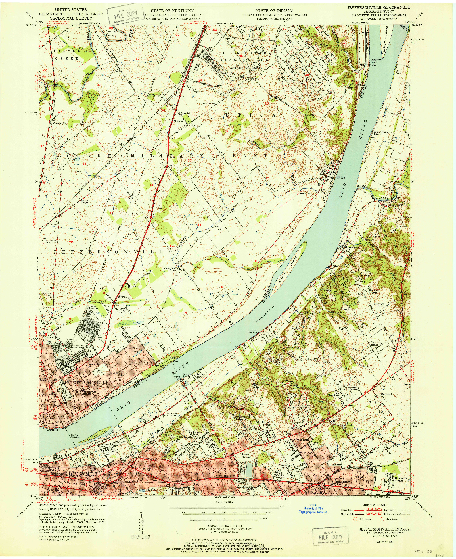 USGS 1:24000-SCALE QUADRANGLE FOR JEFFERSONVILLE, IN 1951