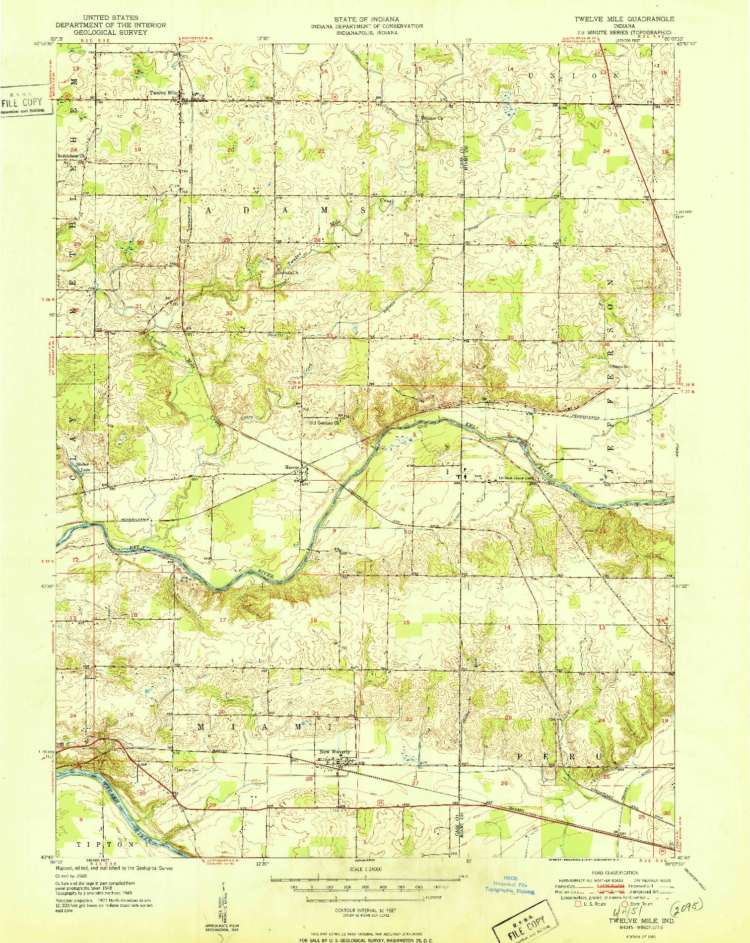 USGS 1:24000-SCALE QUADRANGLE FOR TWELVE MILE, IN 1951