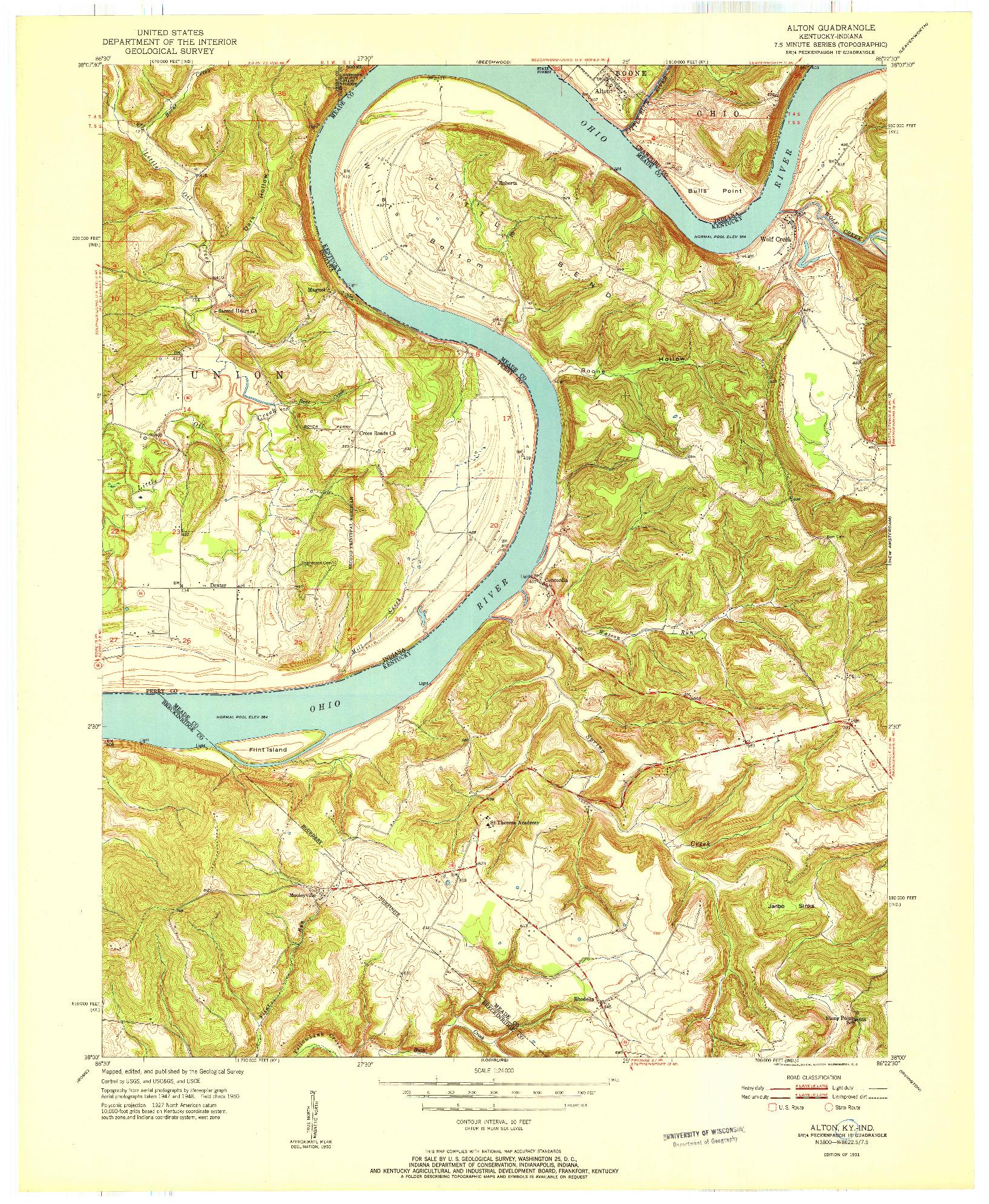 USGS 1:24000-SCALE QUADRANGLE FOR ALTON, KY 1951