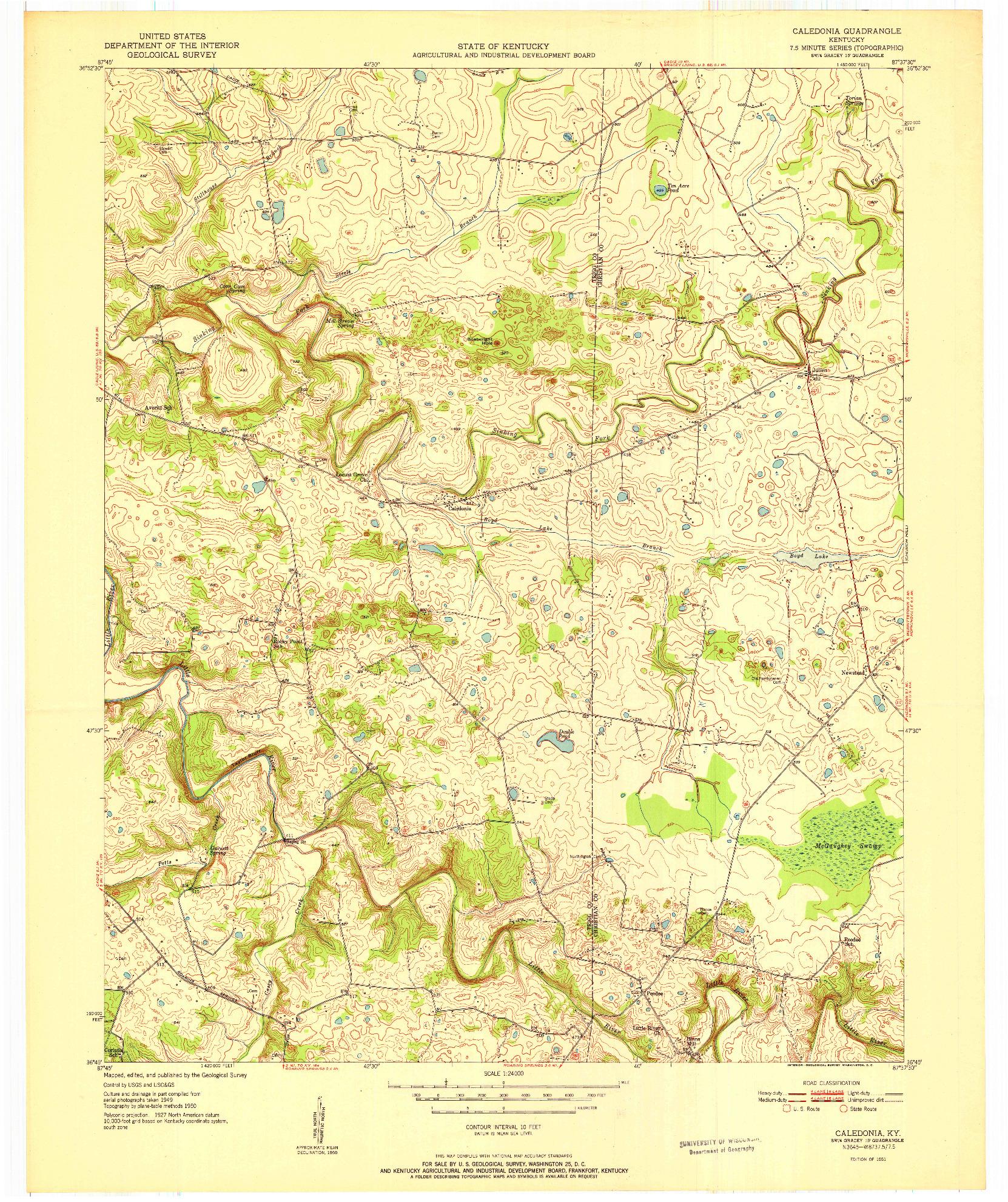 USGS 1:24000-SCALE QUADRANGLE FOR CALEDONIA, KY 1951