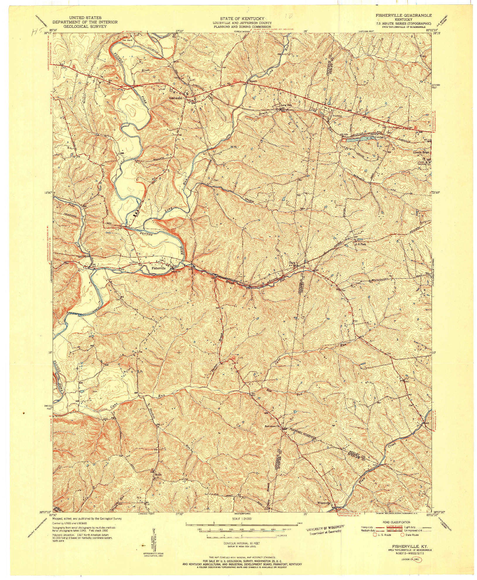 USGS 1:24000-SCALE QUADRANGLE FOR FISHERVILLE, KY 1951