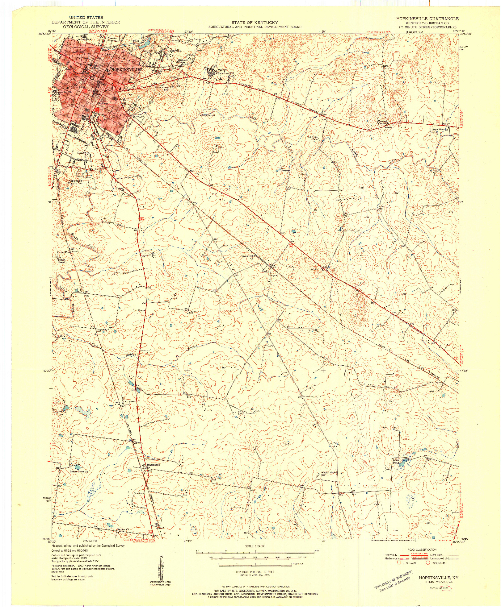 USGS 1:24000-SCALE QUADRANGLE FOR HOPKINSVILLE, KY 1951