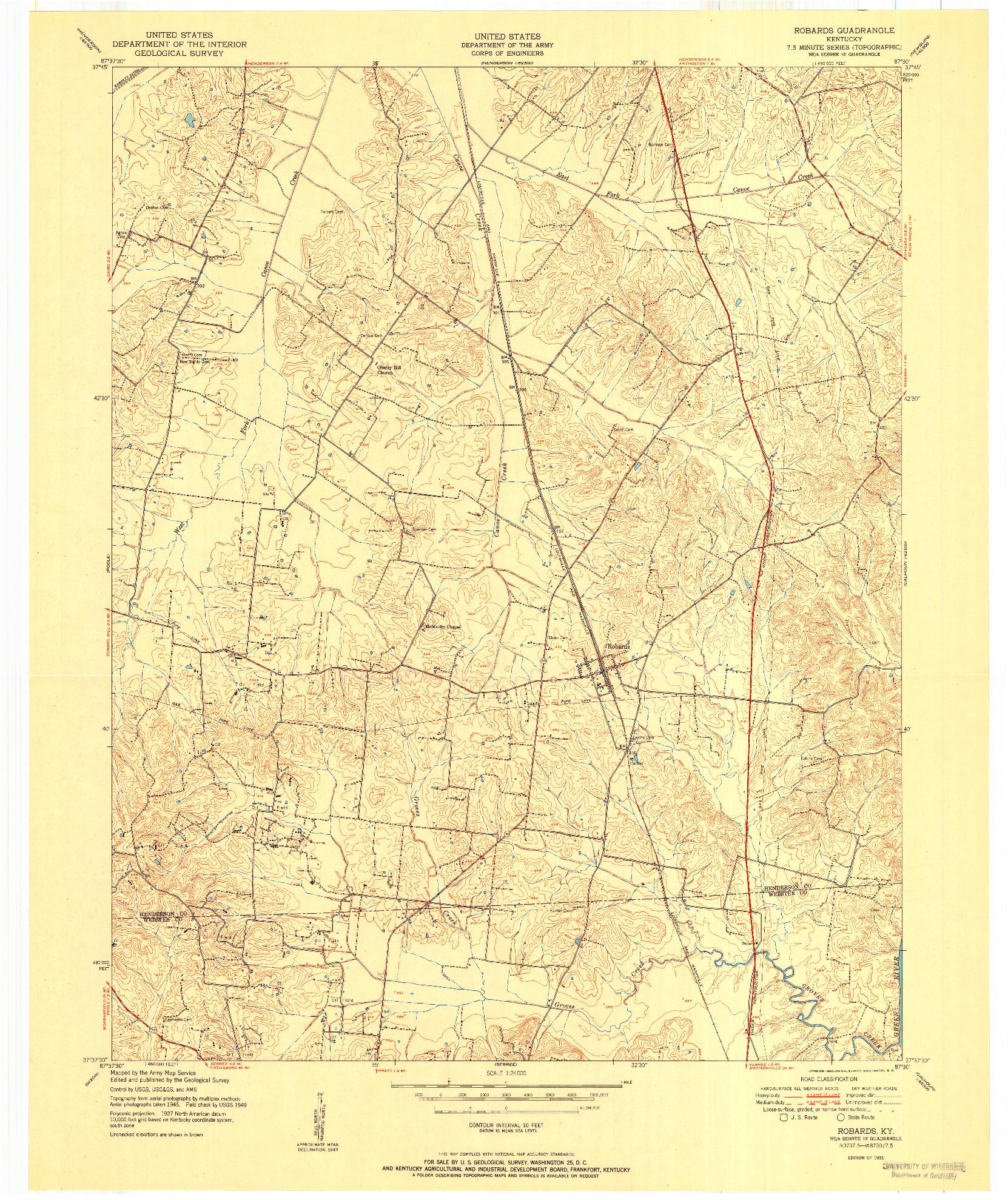 USGS 1:24000-SCALE QUADRANGLE FOR ROBARDS, KY 1951
