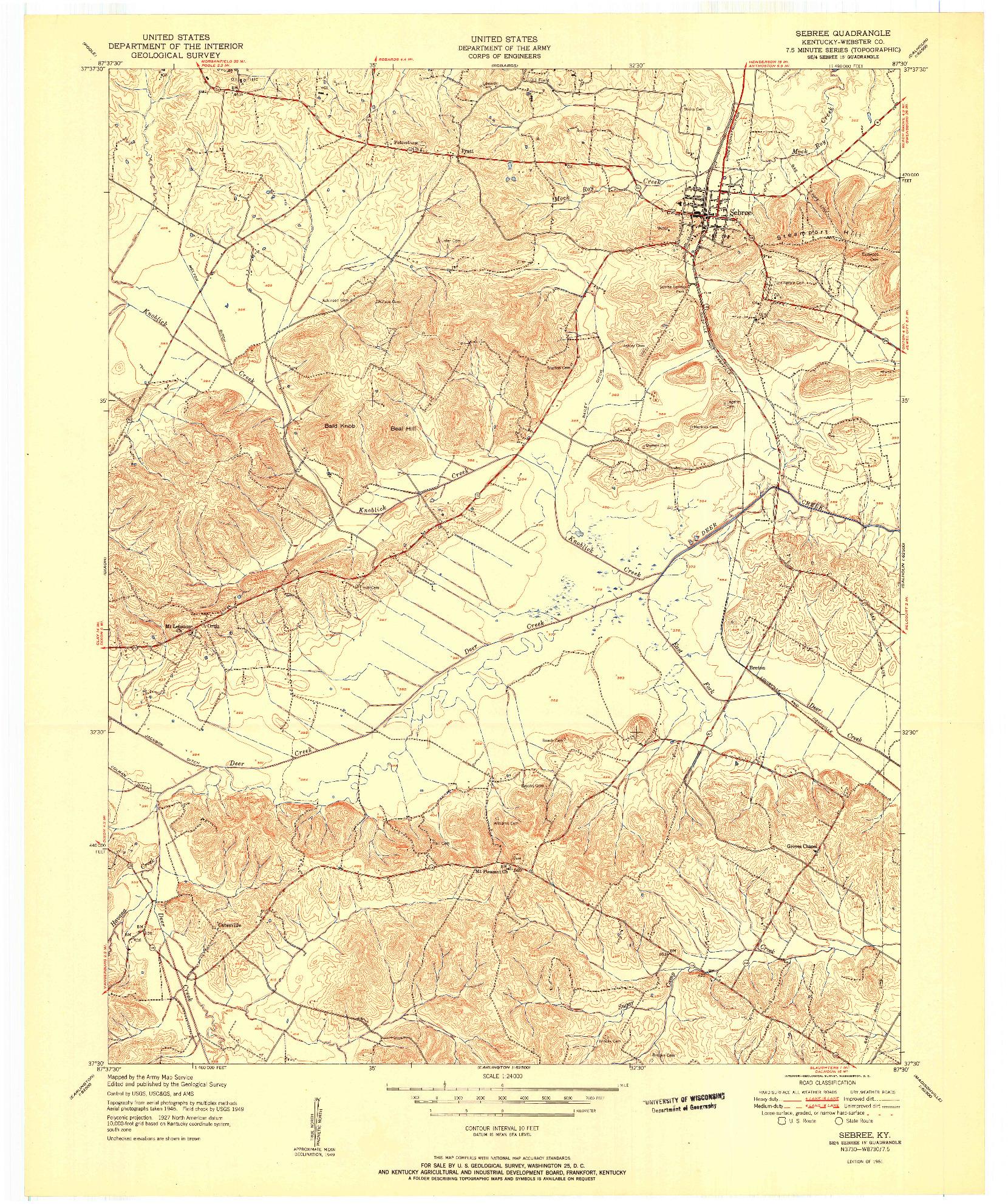 USGS 1:24000-SCALE QUADRANGLE FOR SEBREE, KY 1951