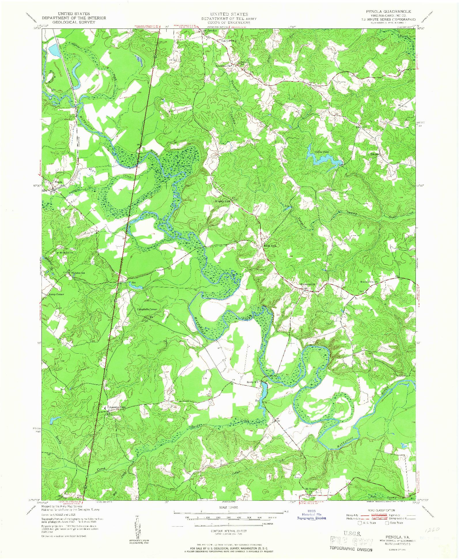 USGS 1:24000-SCALE QUADRANGLE FOR PENOLA, VA 1951