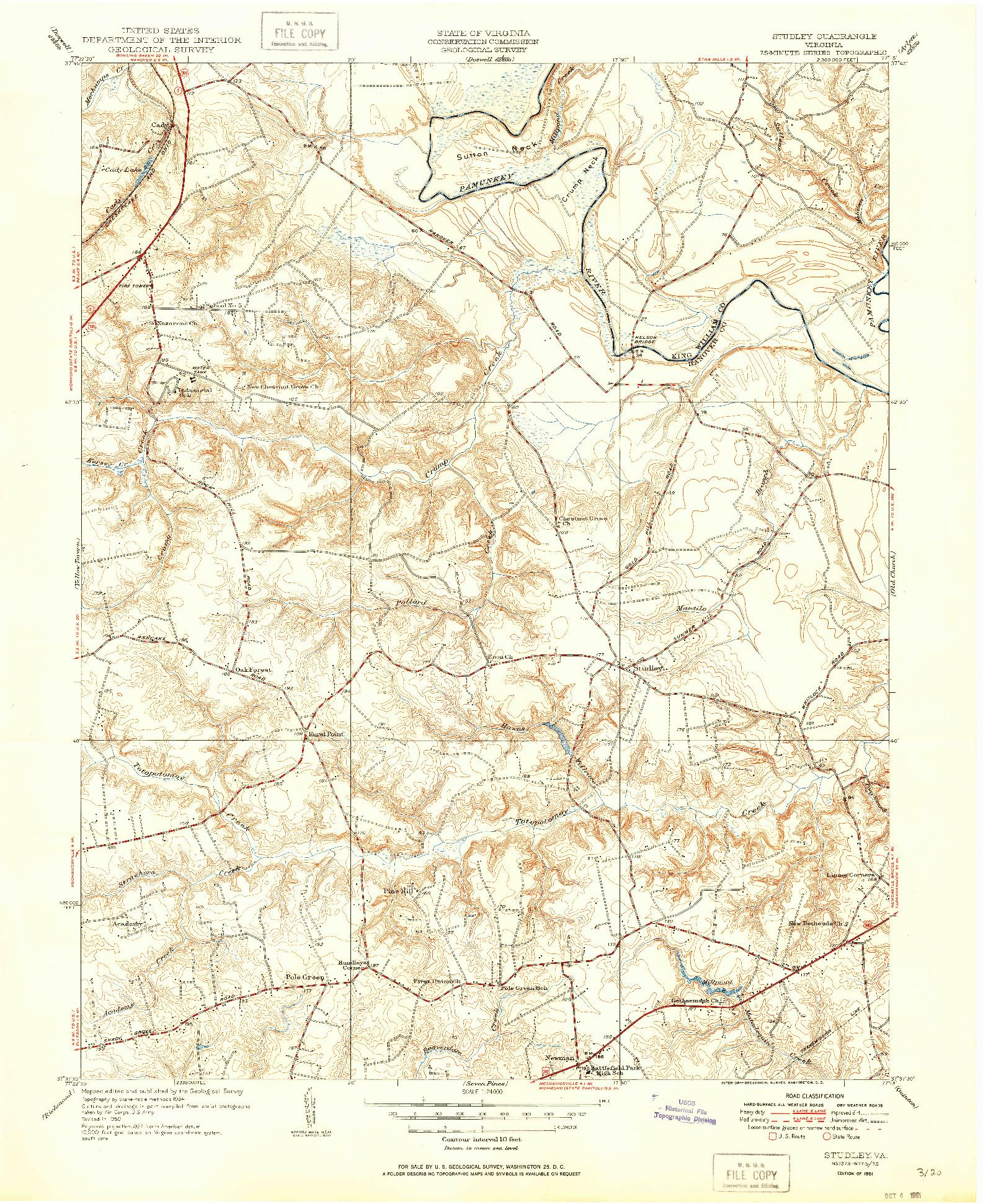 USGS 1:24000-SCALE QUADRANGLE FOR STUDLEY, VA 1951