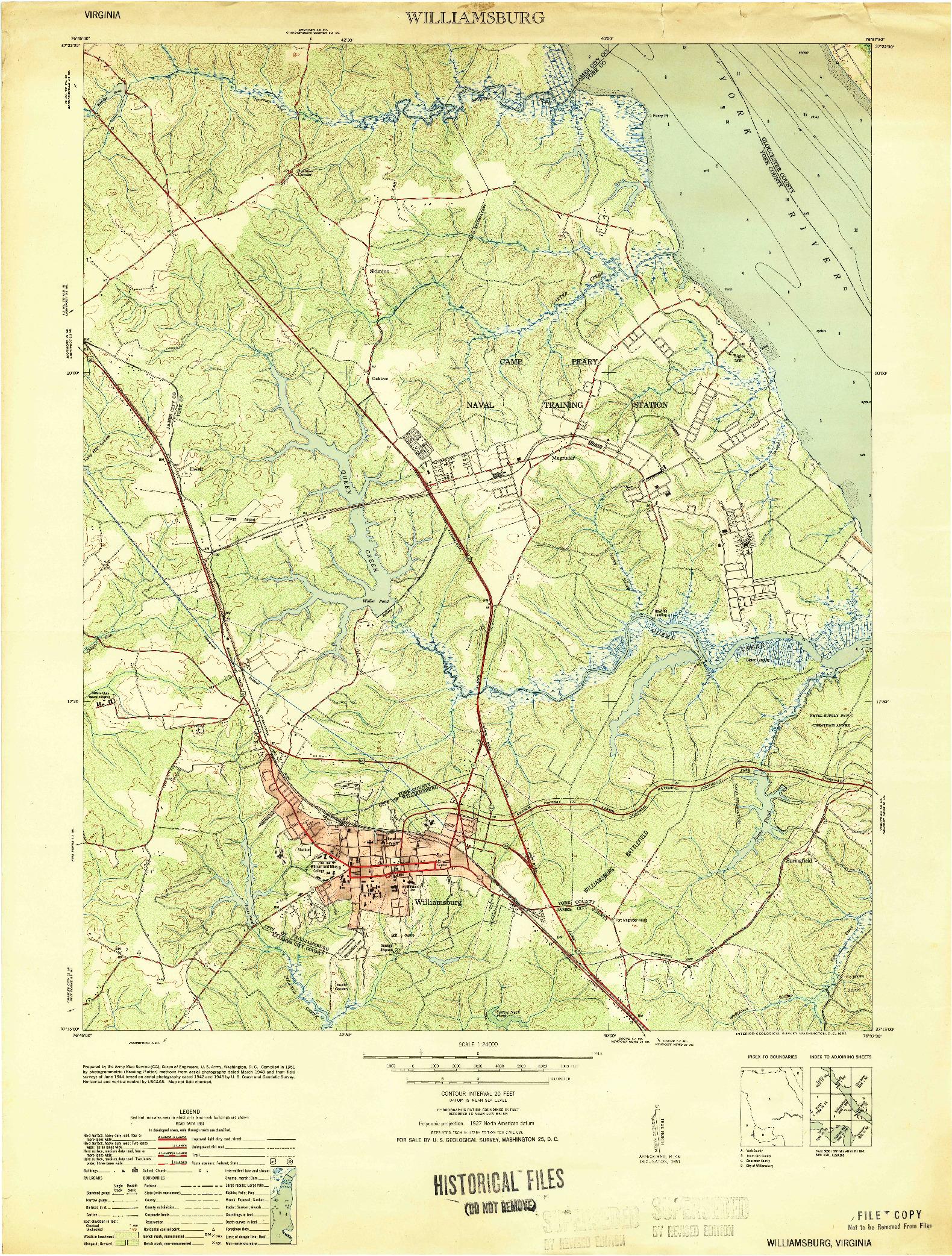 USGS 1:24000-SCALE QUADRANGLE FOR WILLIAMSBURG, VA 1951