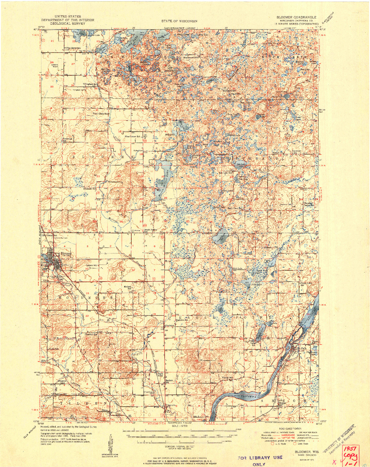 USGS 1:62500-SCALE QUADRANGLE FOR BLOOMER, WI 1951