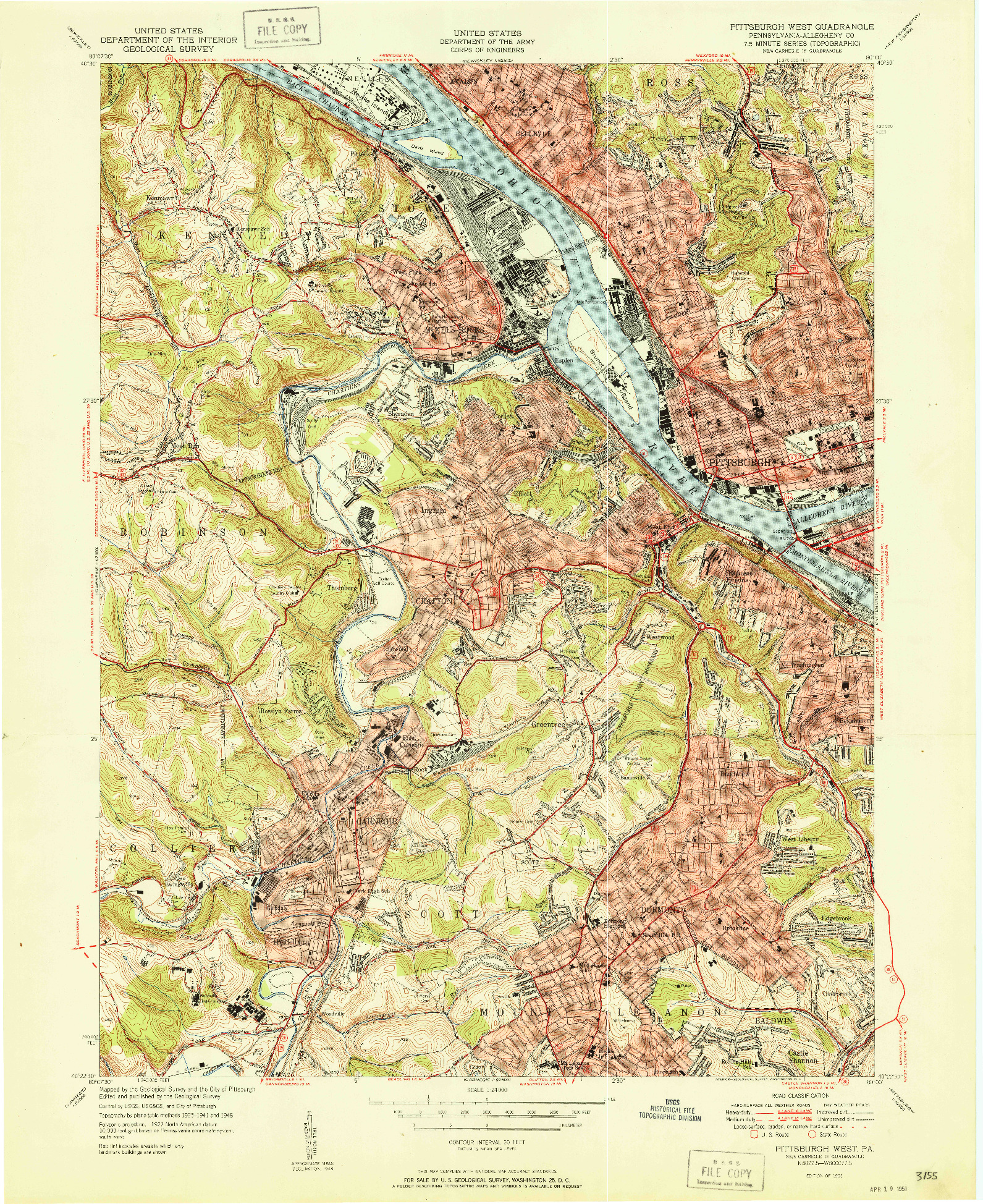 USGS 1:24000-SCALE QUADRANGLE FOR PITTSBURGH WEST, PA 1951