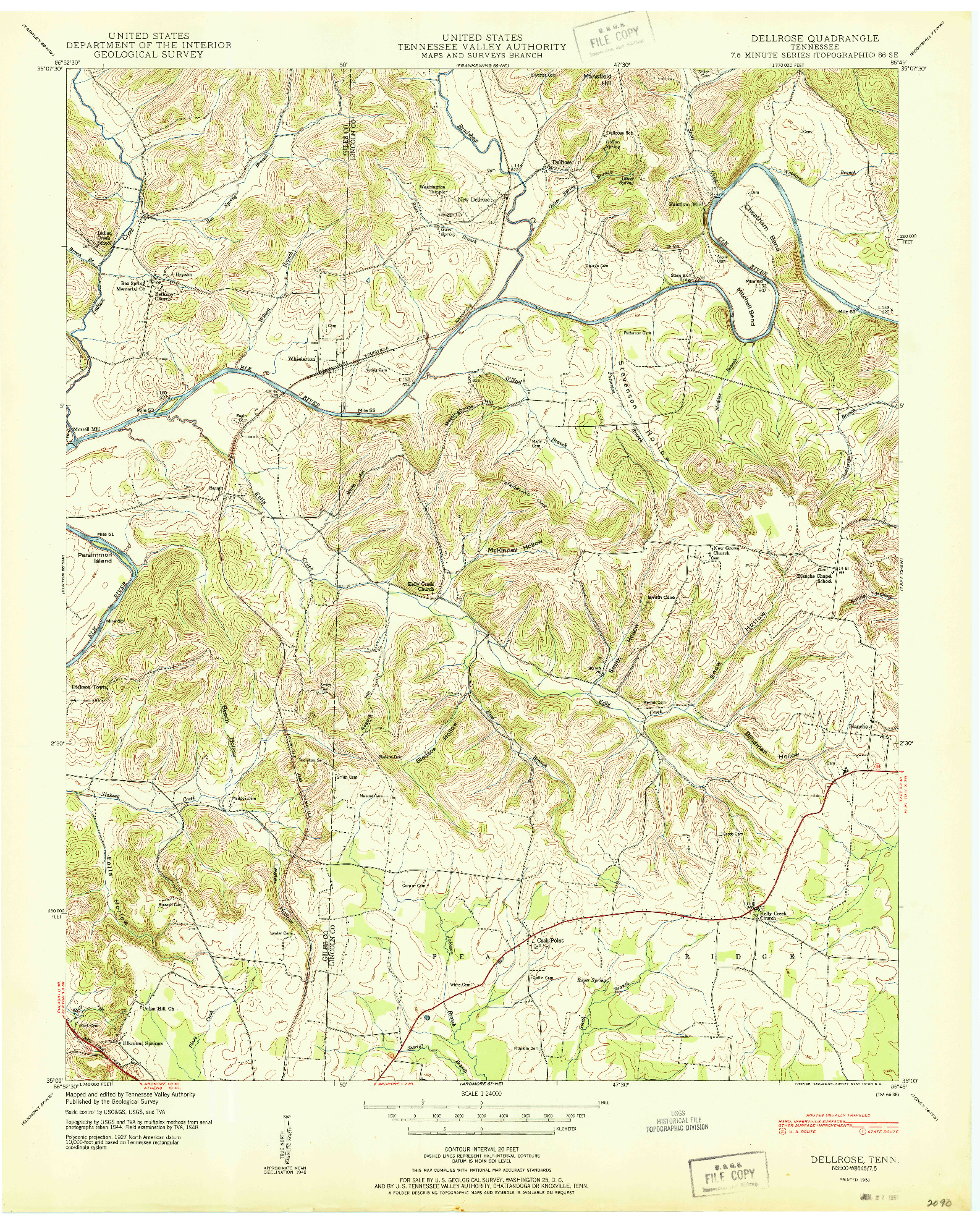 USGS 1:24000-SCALE QUADRANGLE FOR DELLROSE, TN 1951