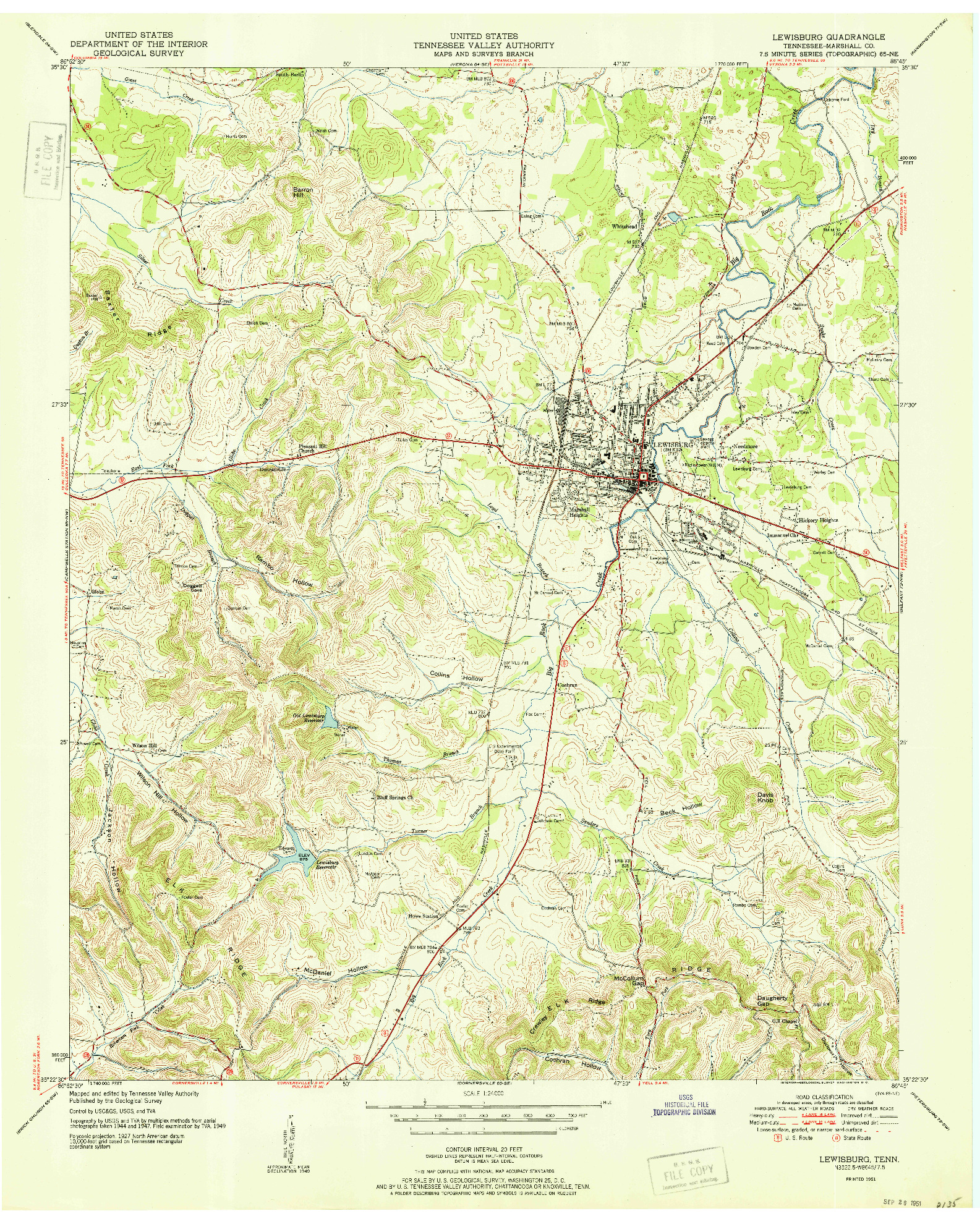 USGS 1:24000-SCALE QUADRANGLE FOR LEWISBURG, TN 1951