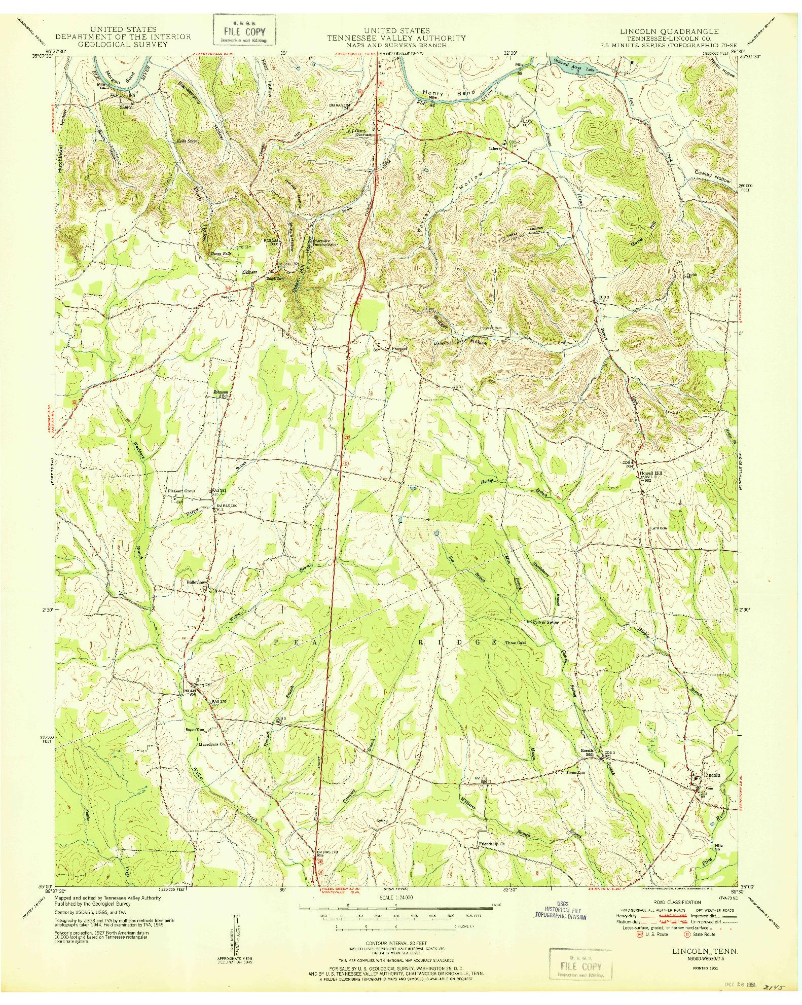 USGS 1:24000-SCALE QUADRANGLE FOR LINCOLN, TN 1951