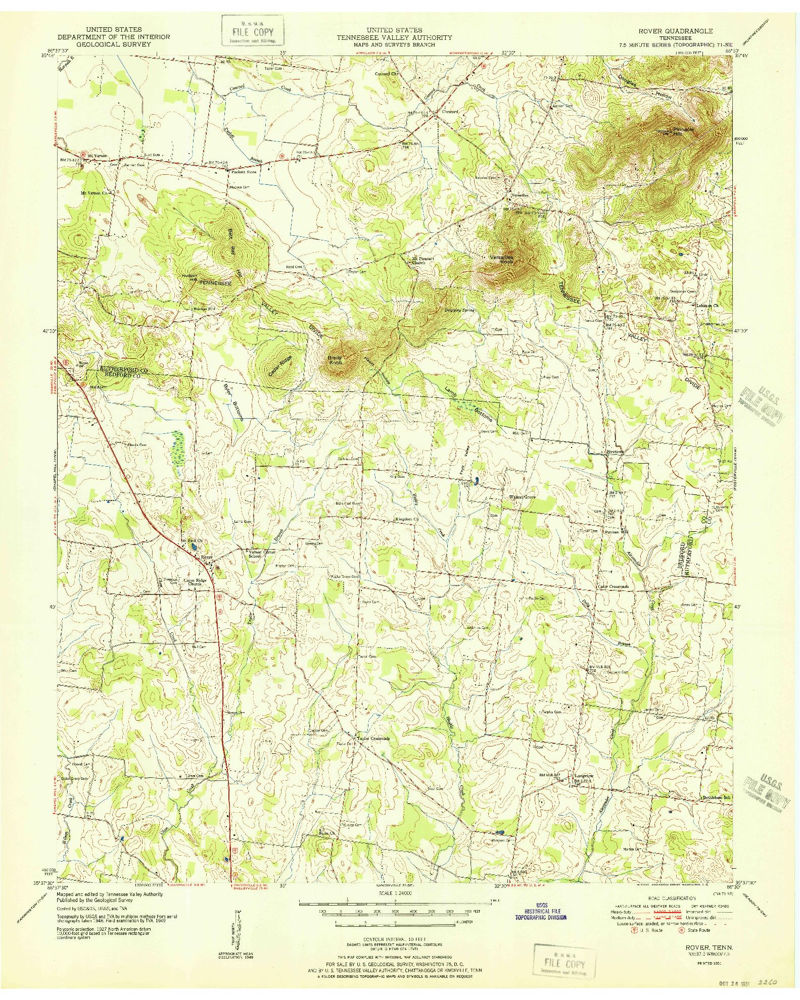 USGS 1:24000-SCALE QUADRANGLE FOR ROVER, TN 1951