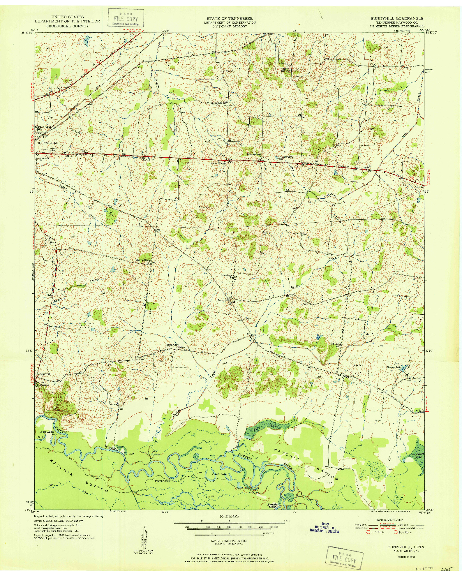 USGS 1:24000-SCALE QUADRANGLE FOR SUNNYHILL, TN 1951
