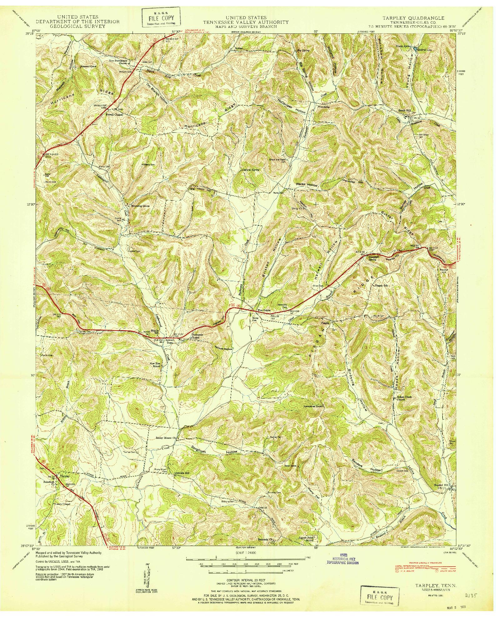 USGS 1:24000-SCALE QUADRANGLE FOR TARPLEY, TN 1951