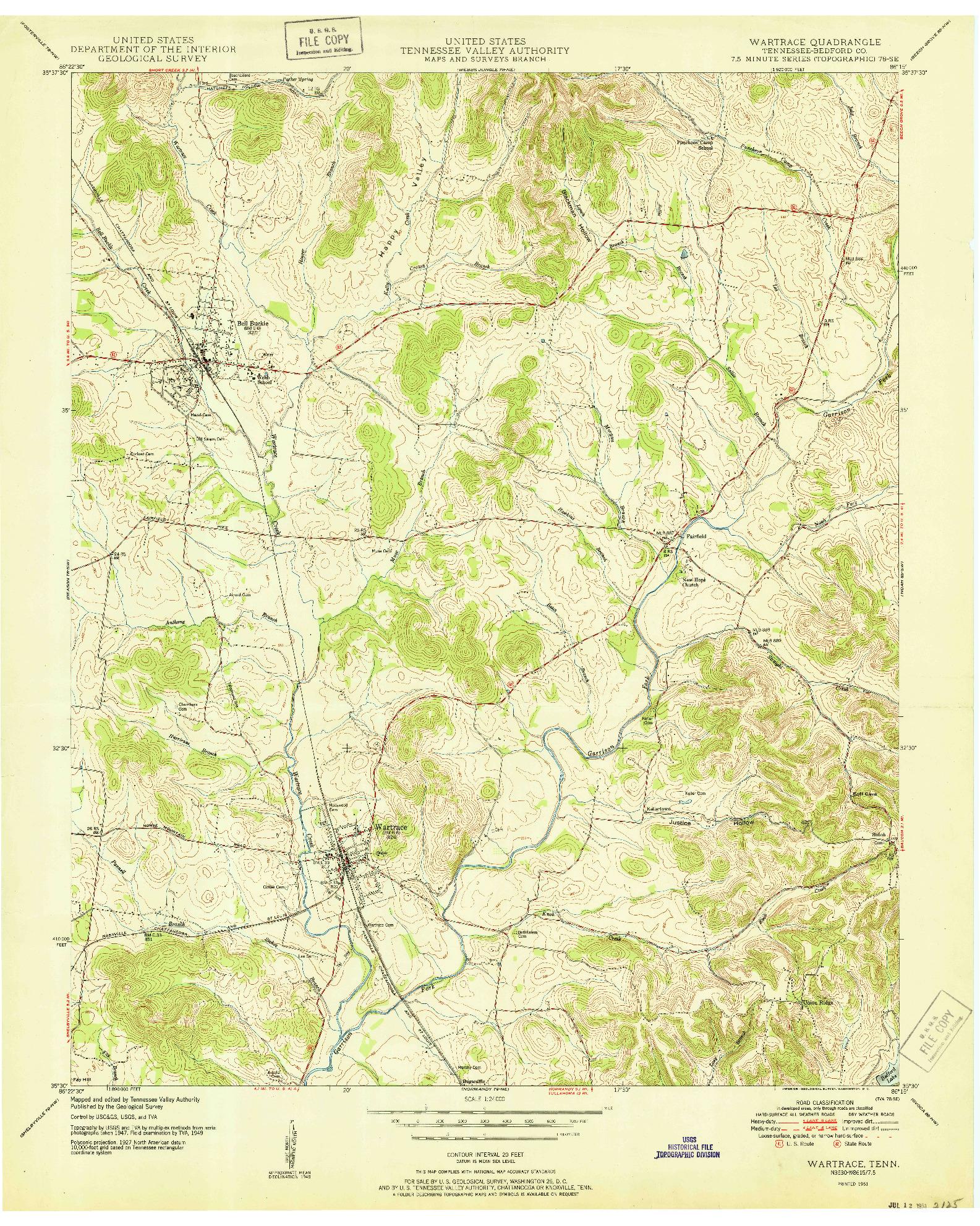 USGS 1:24000-SCALE QUADRANGLE FOR WARTRACE, TN 1951