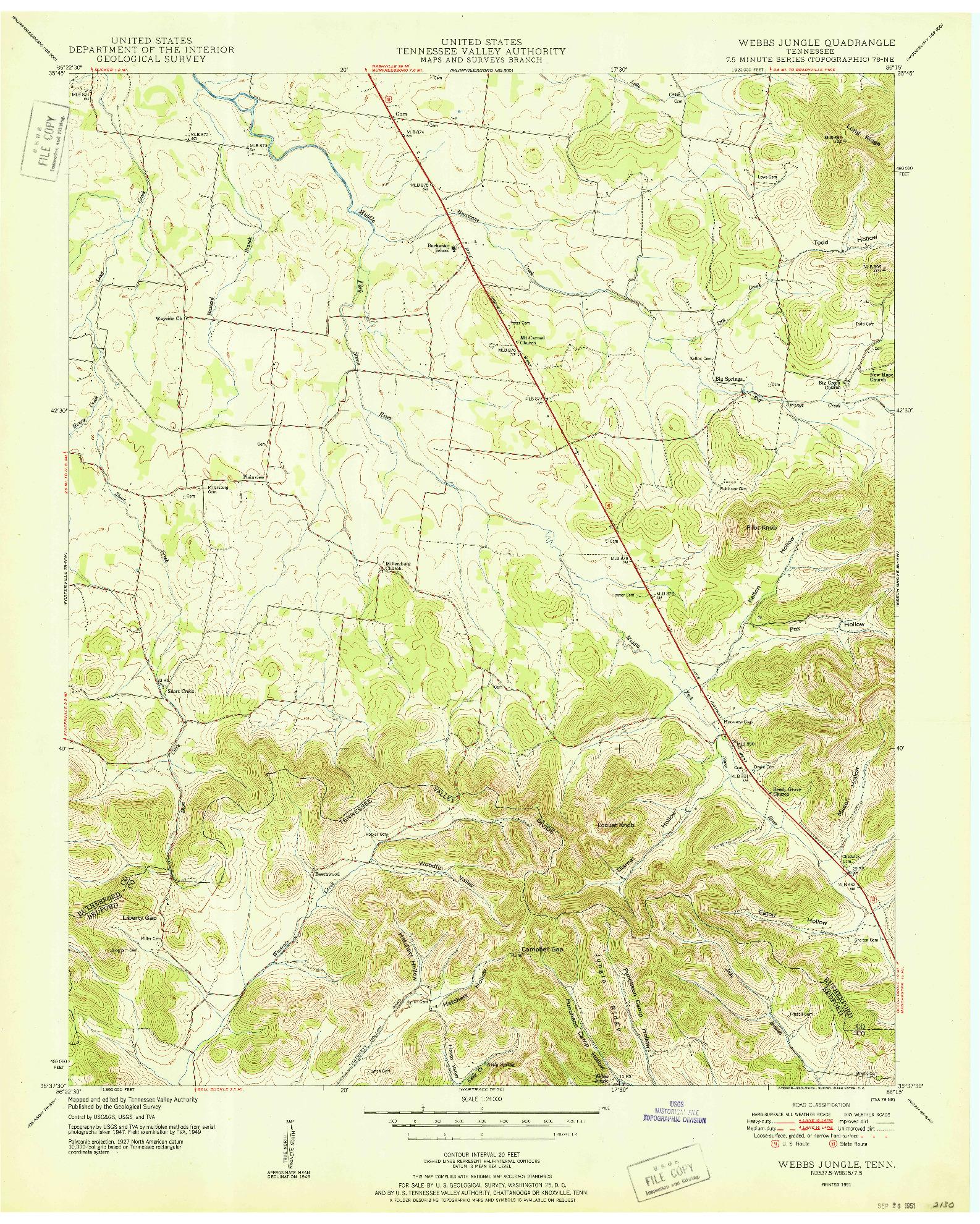 USGS 1:24000-SCALE QUADRANGLE FOR WEBBS JUNGLE, TN 1951