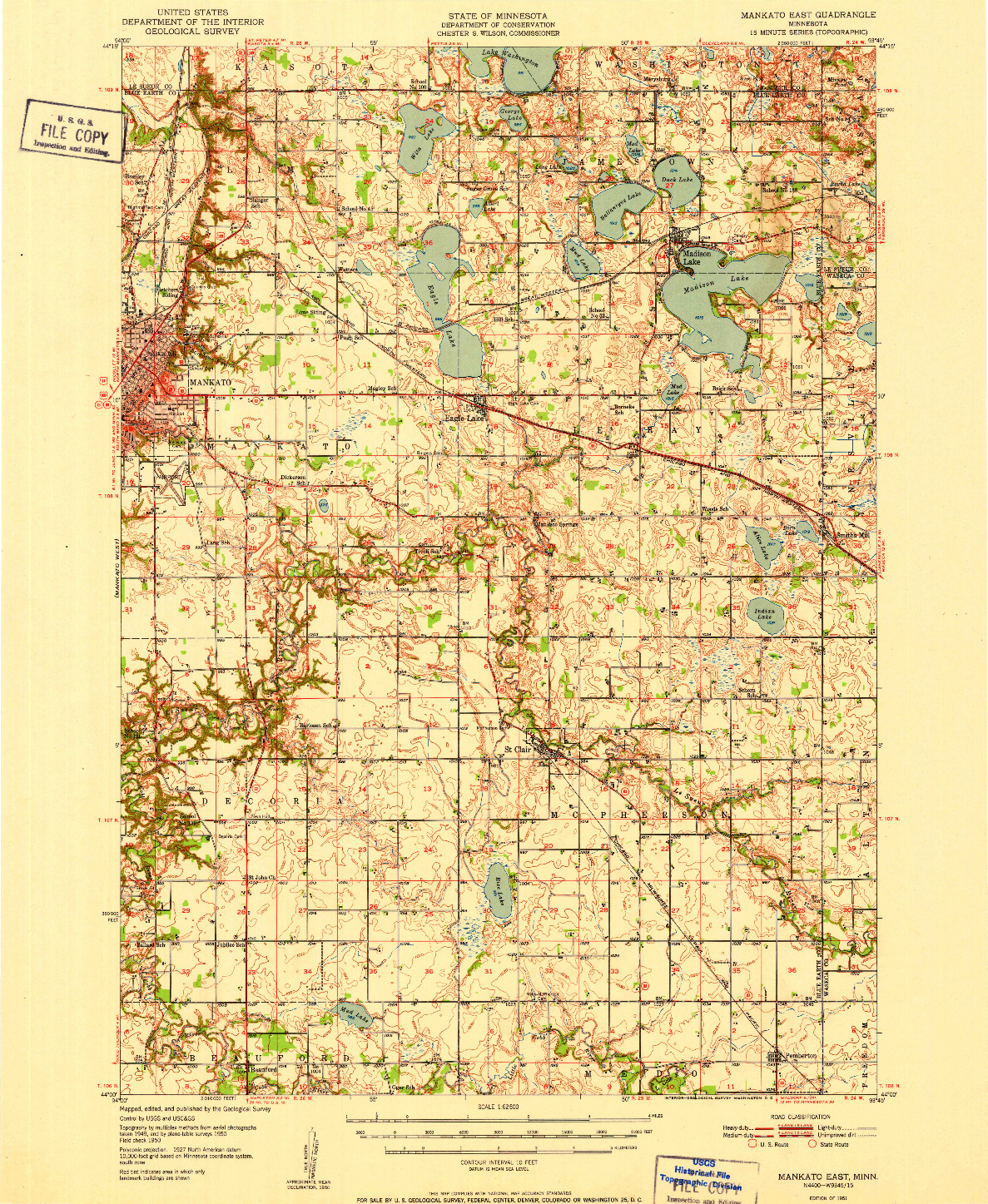 USGS 1:62500-SCALE QUADRANGLE FOR MANKATO EAST, MN 1951