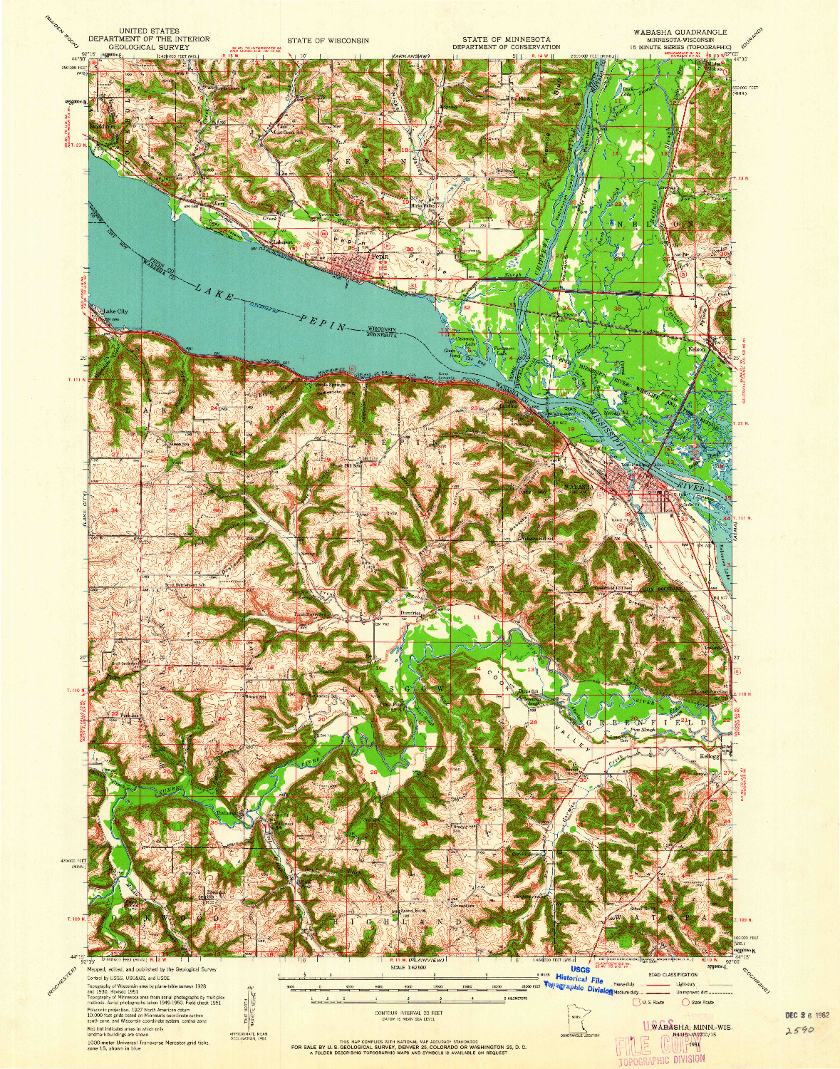USGS 1:62500-SCALE QUADRANGLE FOR WABASHA, MN 1951