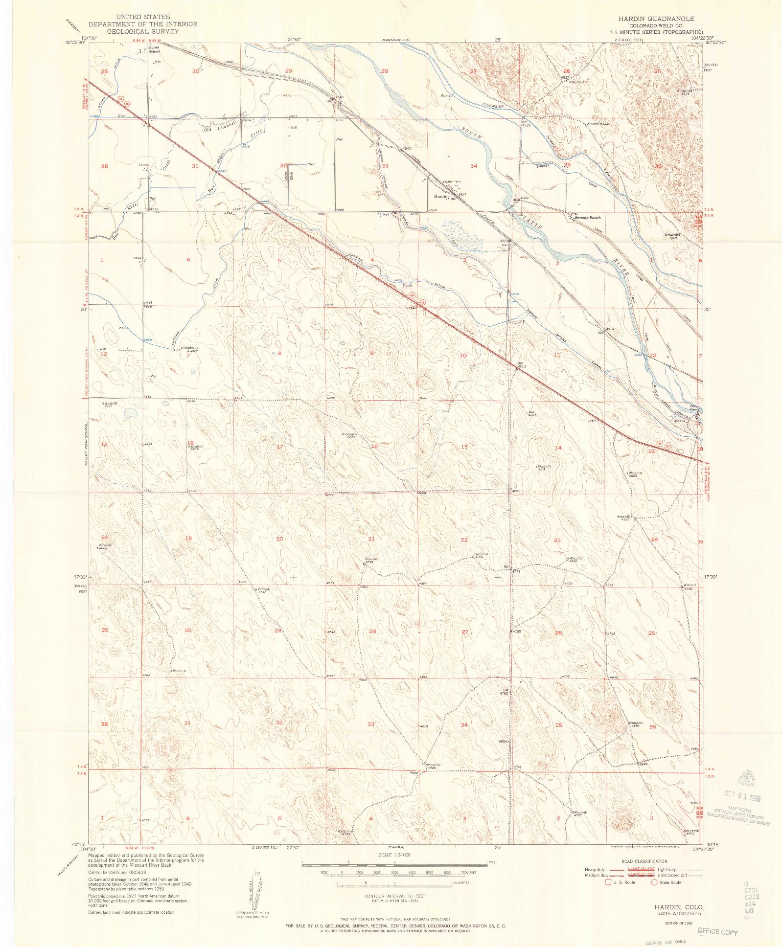 USGS 1:24000-SCALE QUADRANGLE FOR HARDIN, CO 1951