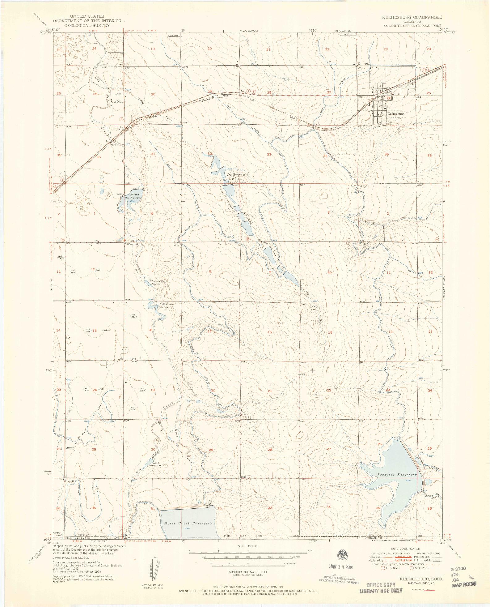 USGS 1:24000-SCALE QUADRANGLE FOR KEENESBURG, CO 1951