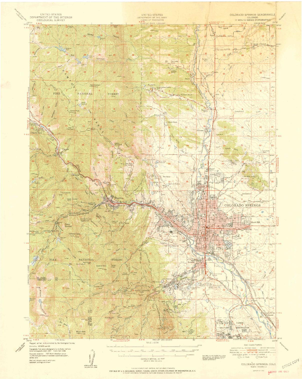 USGS 1:62500-SCALE QUADRANGLE FOR COLORADO SPRINGS, CO 1951