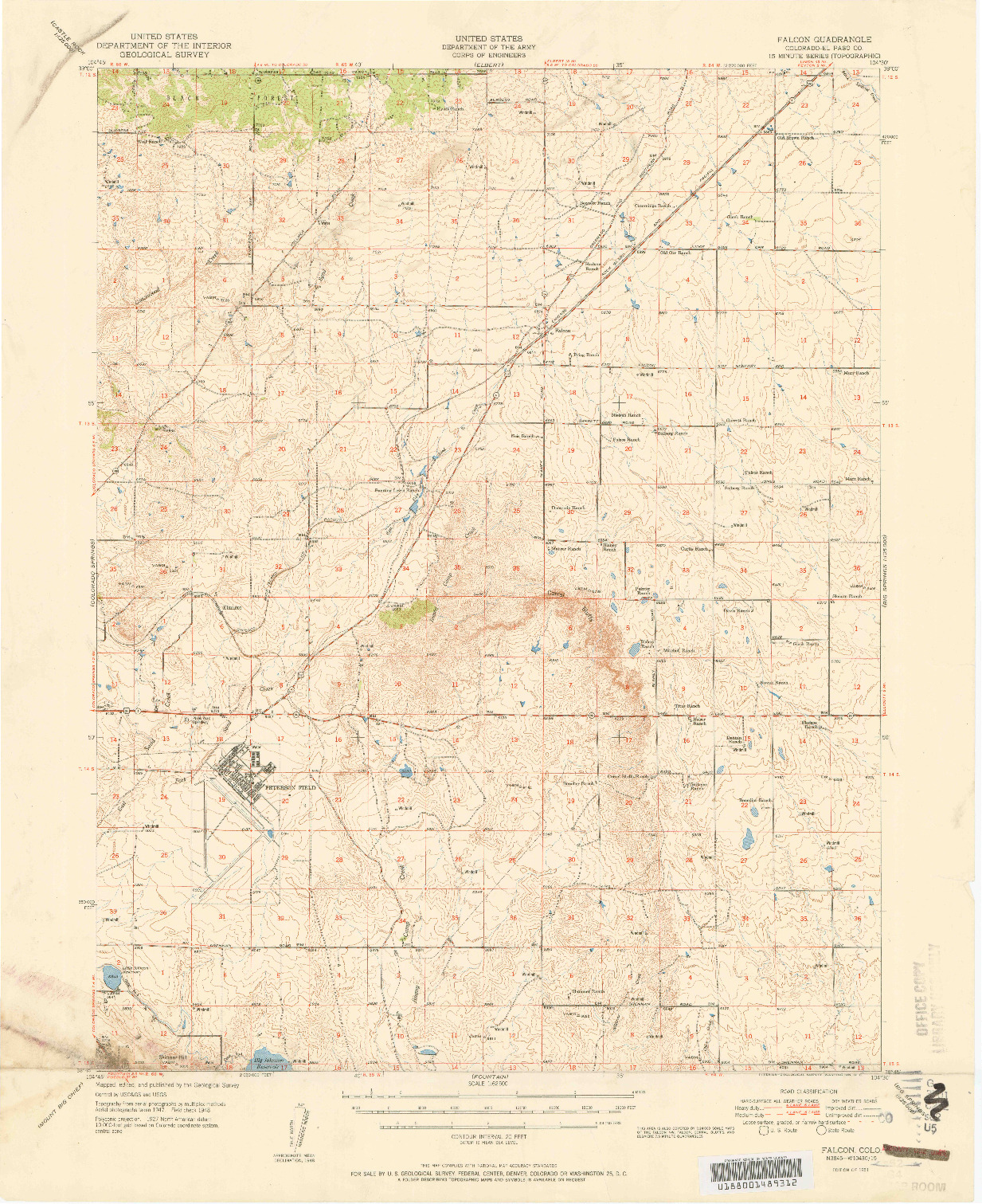 USGS 1:62500-SCALE QUADRANGLE FOR FALCON, CO 1951