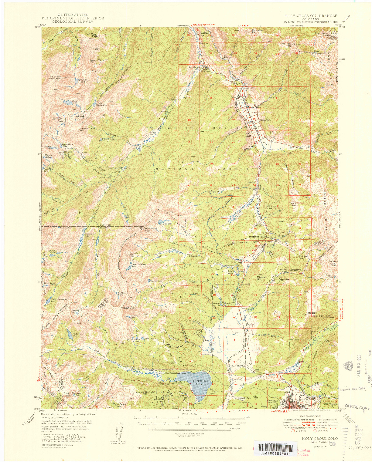 USGS 1:62500-SCALE QUADRANGLE FOR HOLY CROSS, CO 1951