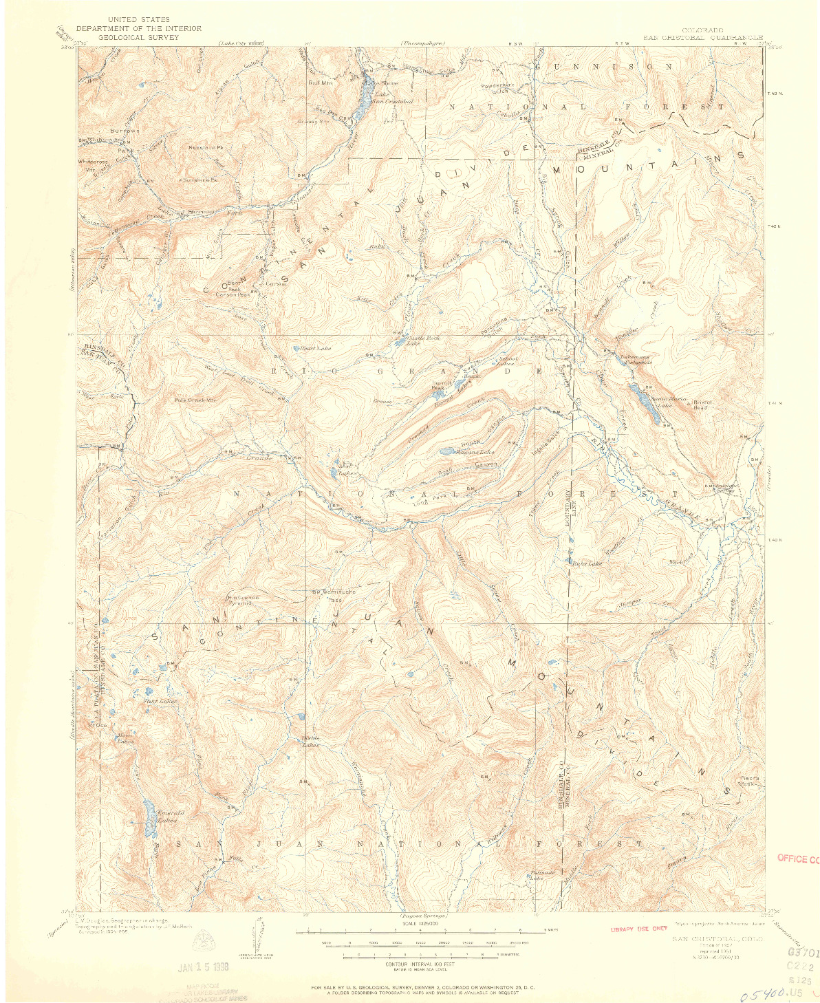 USGS 1:125000-SCALE QUADRANGLE FOR SAN CRISTOBAL, CO 1907