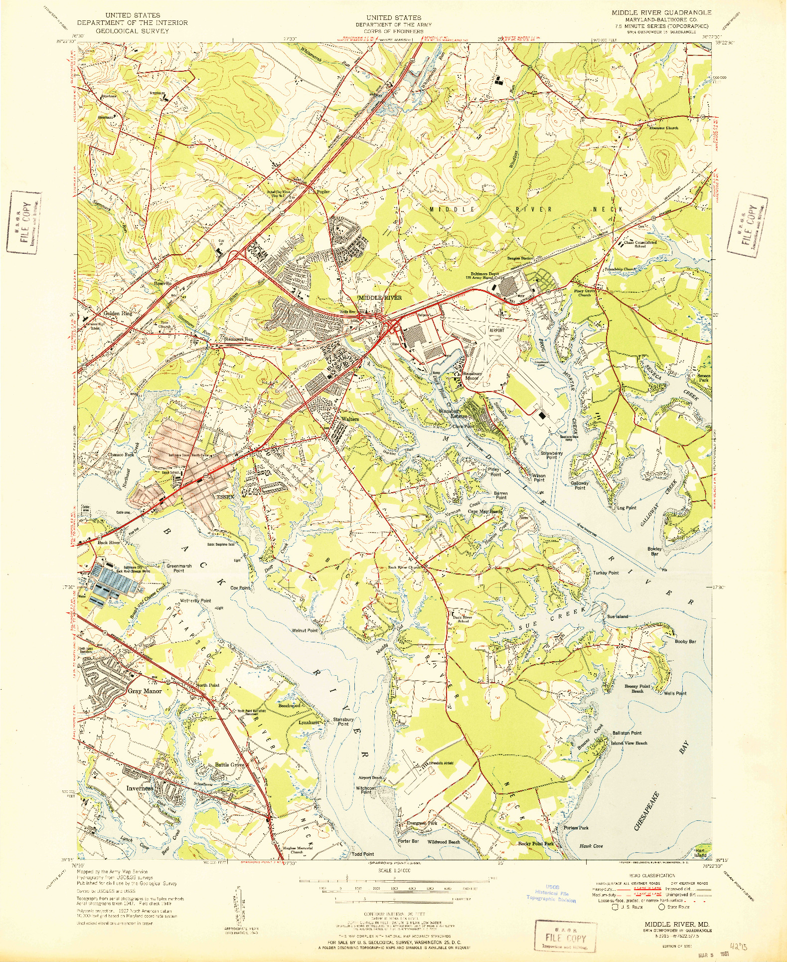 USGS 1:24000-SCALE QUADRANGLE FOR MIDDLE RIVER, MD 1951